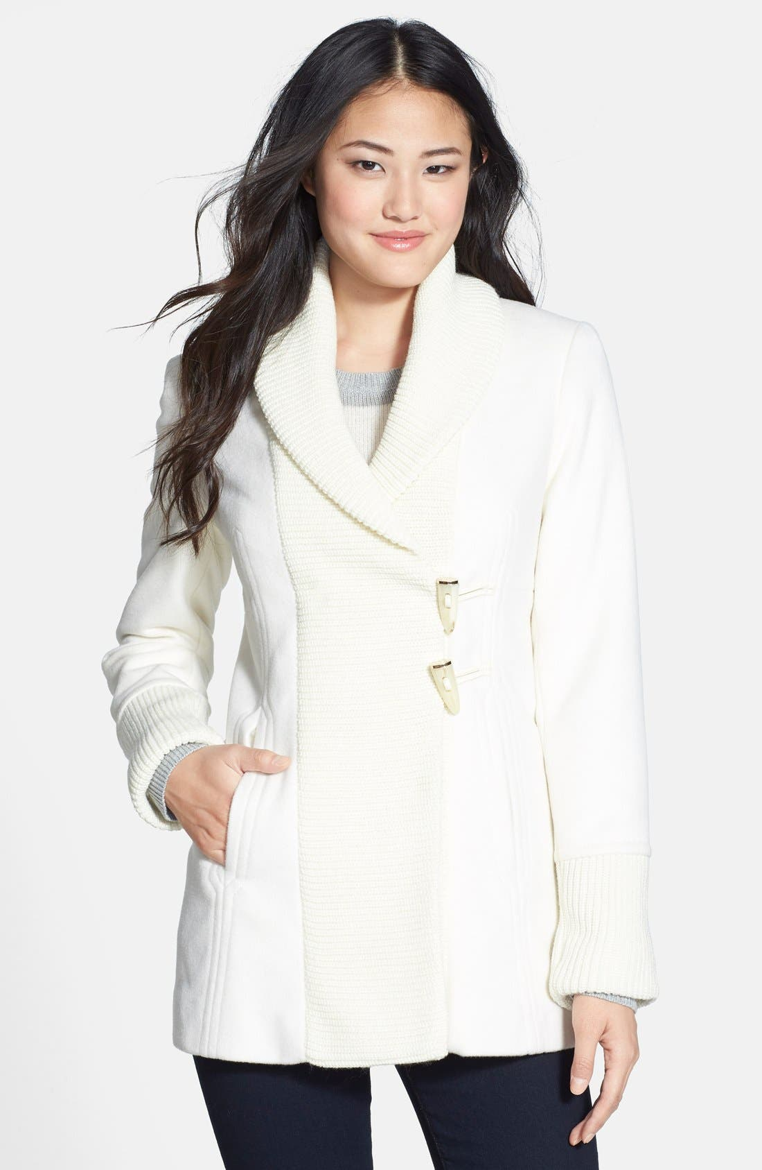 Main Image - Vince Camuto Knit Trim Wool Blend Coat (Online Only) (Regular & Petite)