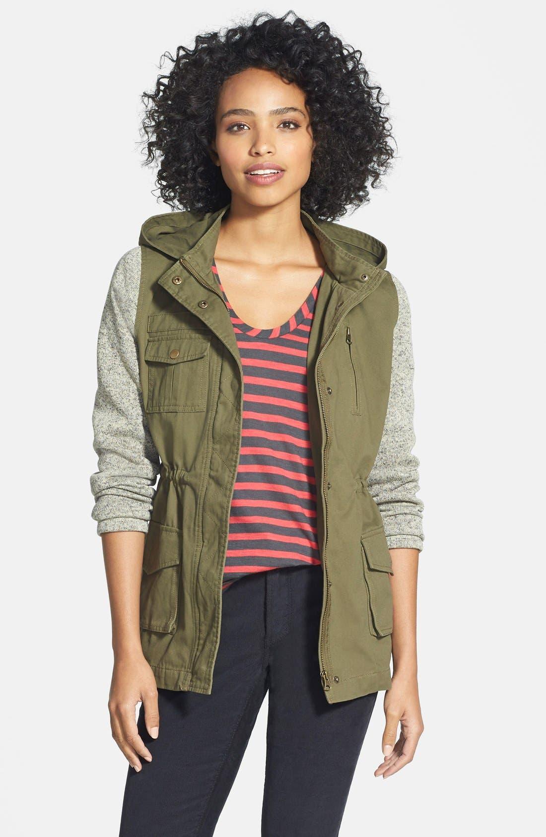 Main Image - Olive & Oak Knit Sleeve Military Jacket