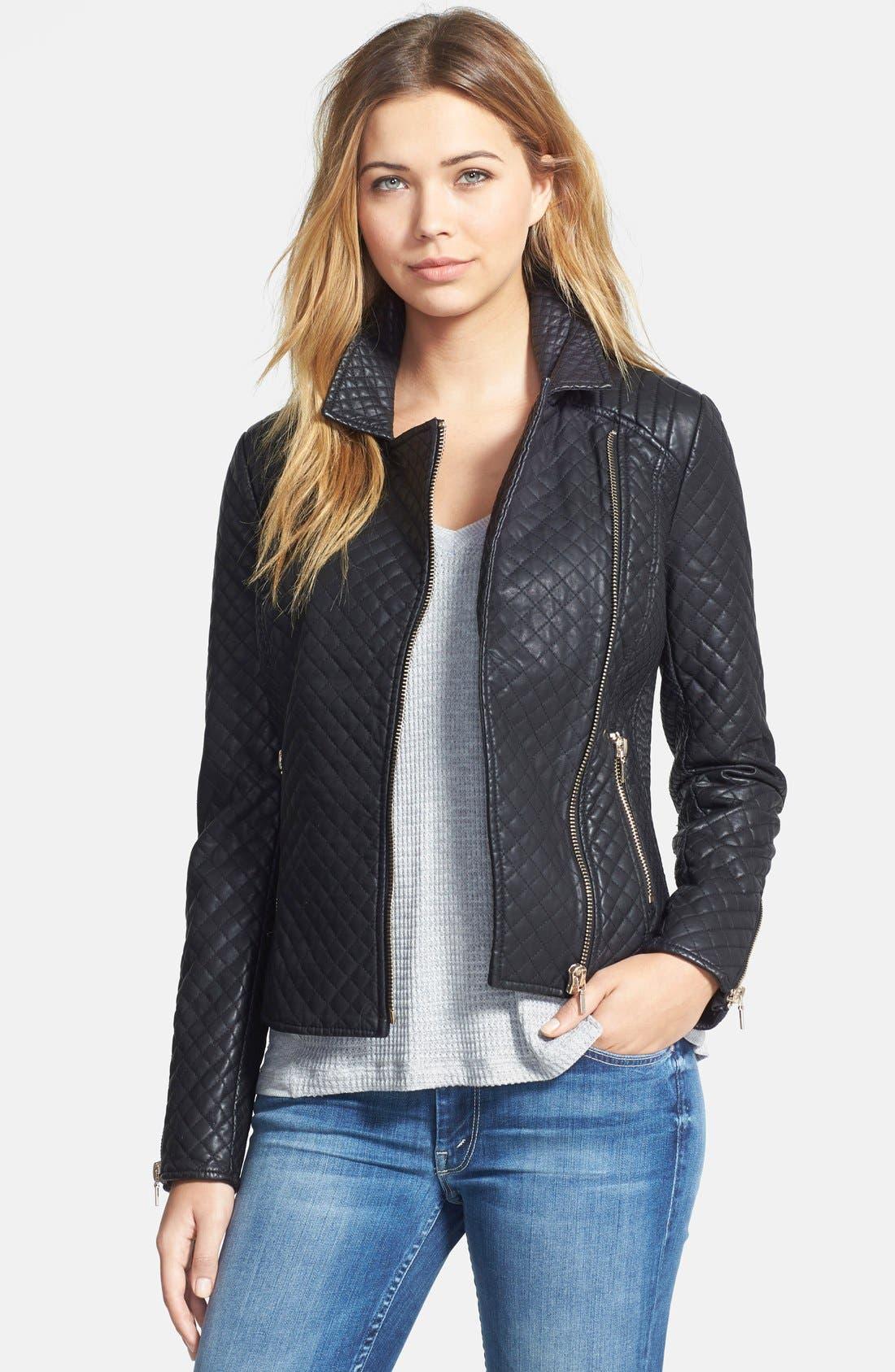 Alternate Image 1 Selected - STELLA + LORENZO Faux Leather Jacket
