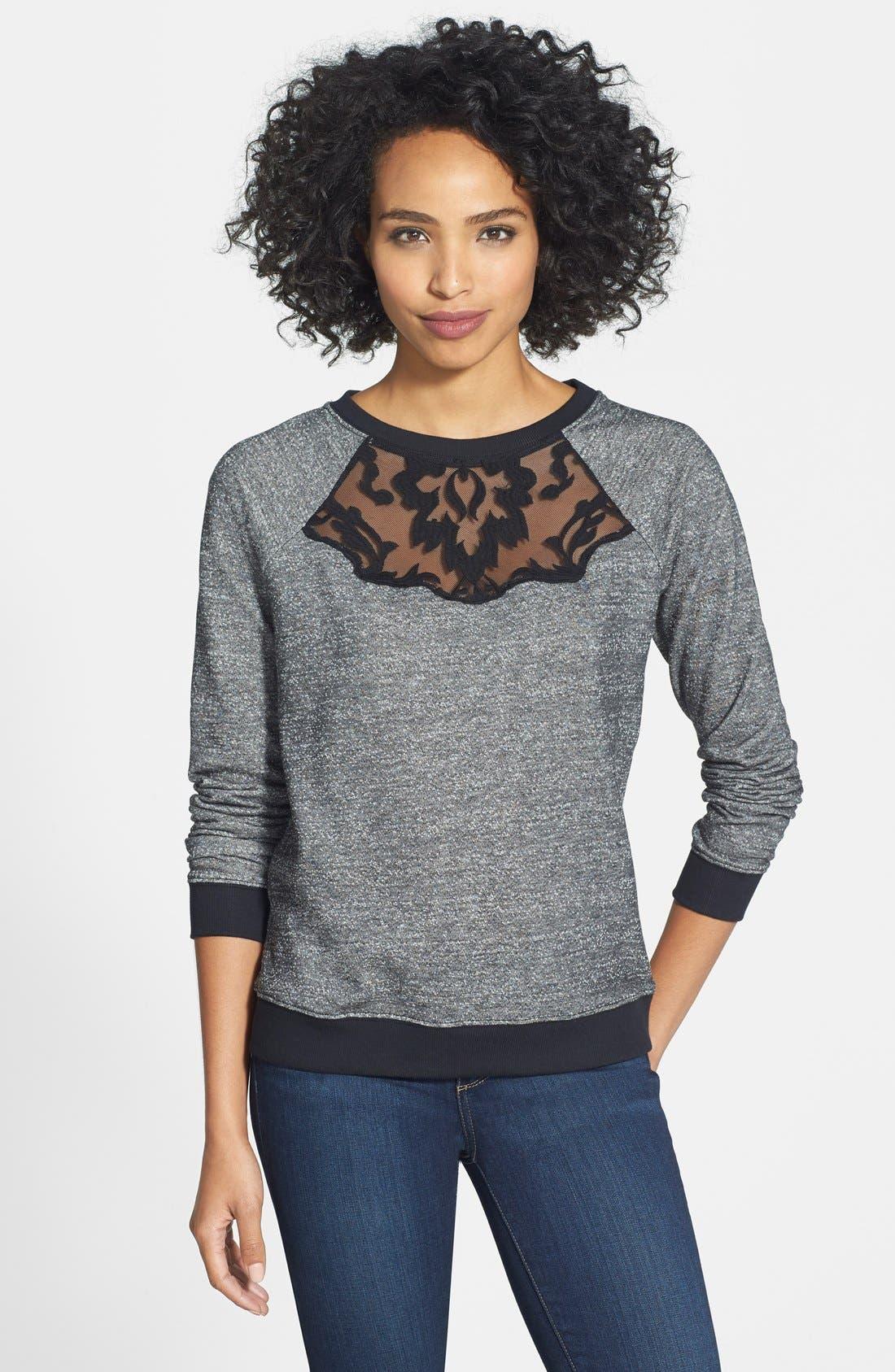 Main Image - NYDJ Embroidered Lace Crewneck Sweatshirt