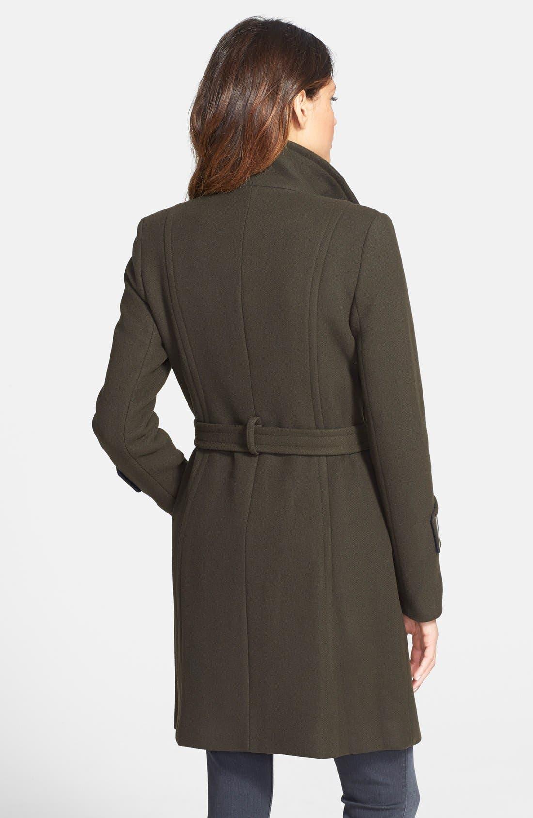 Alternate Image 2  - Elie Tahari 'India' Stand Collar Belted Wool Blend Coat