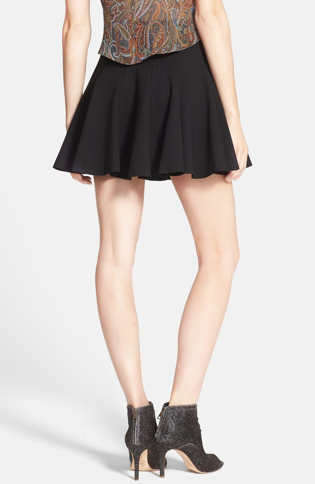 Alternate Image 2  - ASTR Ponte-Knit Pleated Skater Skirt