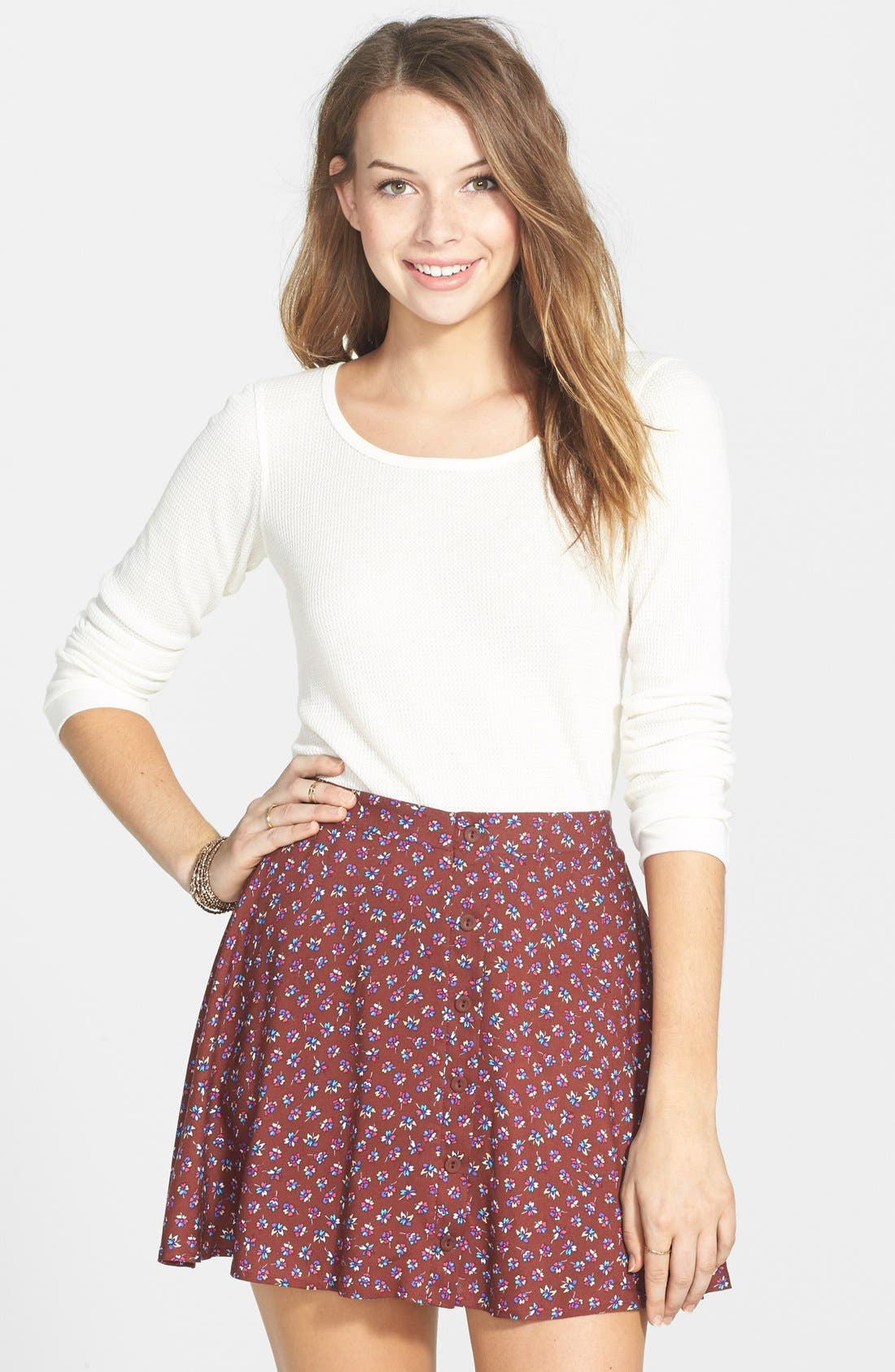 Alternate Image 1 Selected - Lush Button Front Skater Skirt