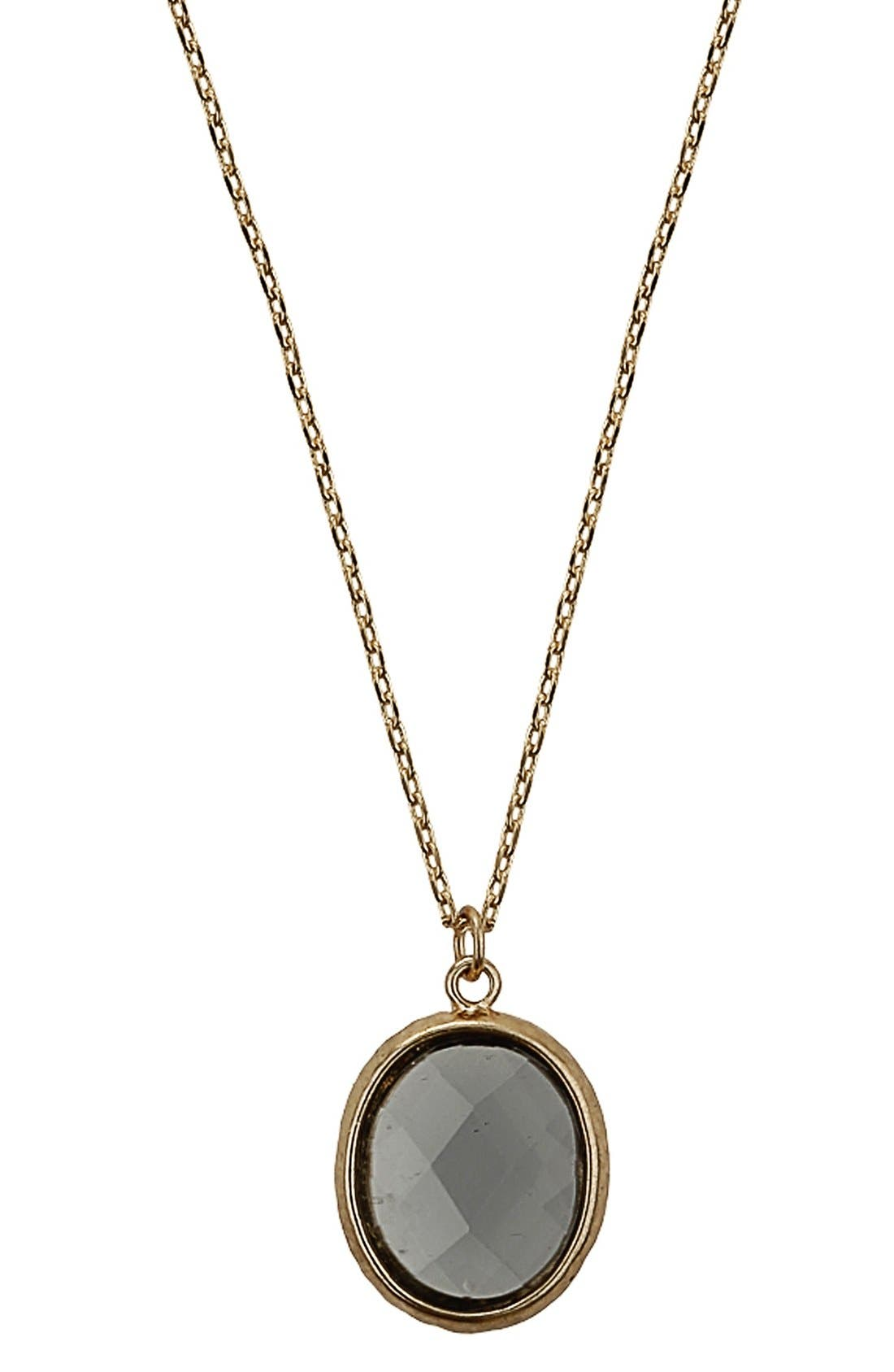 Alternate Image 1 Selected - Topshop Oval Faceted Stone Necklace