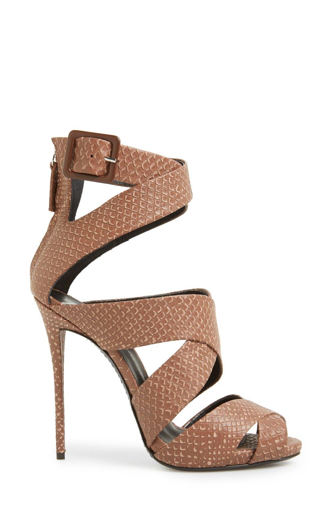Alternate Image 4  - Giuseppe Zanotti 'Coline' Snake Embossed Leather Sandal (Women)