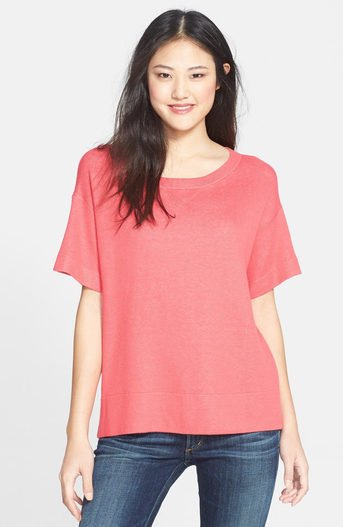 Alternate Image 1 Selected - Halogen® Short Sleeve Sweater (Regular & Petite)