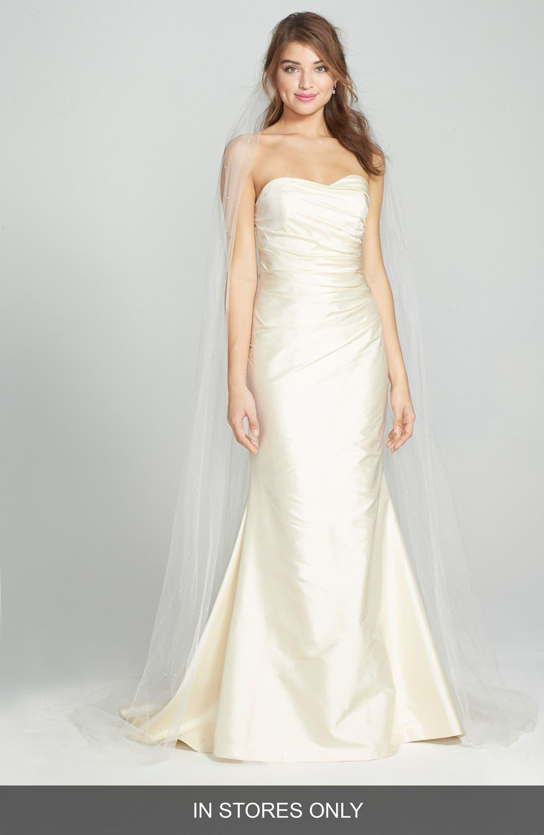 CAROLINE DEVILLO 'Kate' Ruched Silk Dupioni Mermaid Dress
