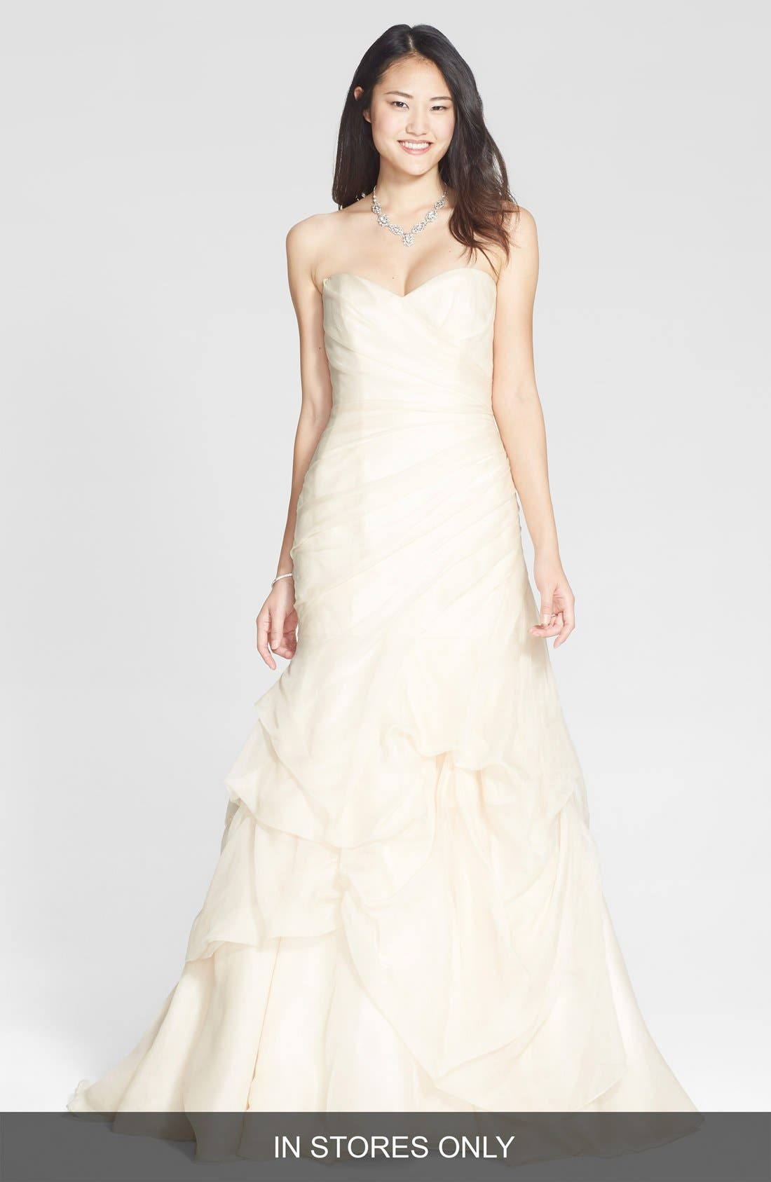 BLISS MONIQUE LHUILLIER Draped Silk Organza Trumpet Dress