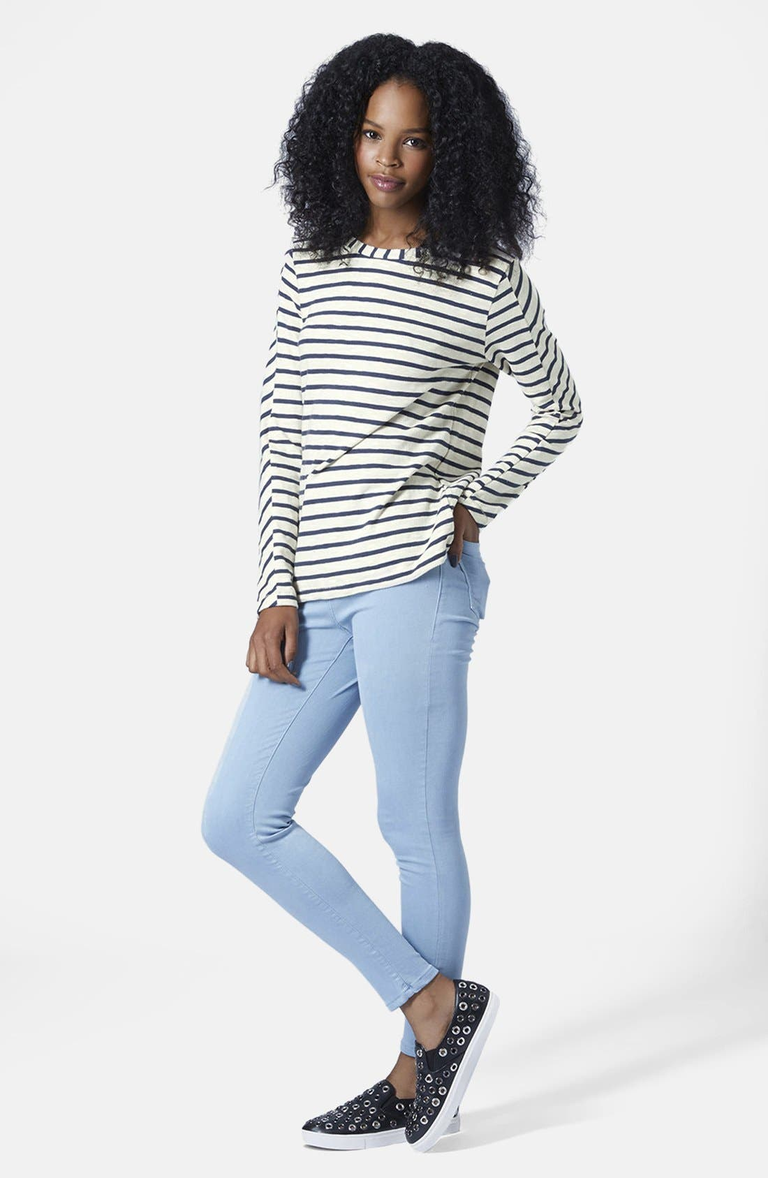 Alternate Image 5  - Topshop Long Sleeve Stripe Top