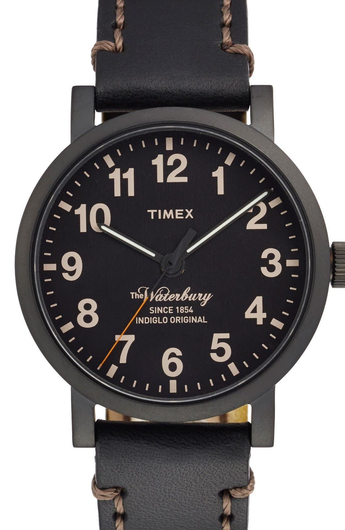 Alternate Image 1 Selected - Timex® 'Waterbury' Leather Strap Watch, 40mm