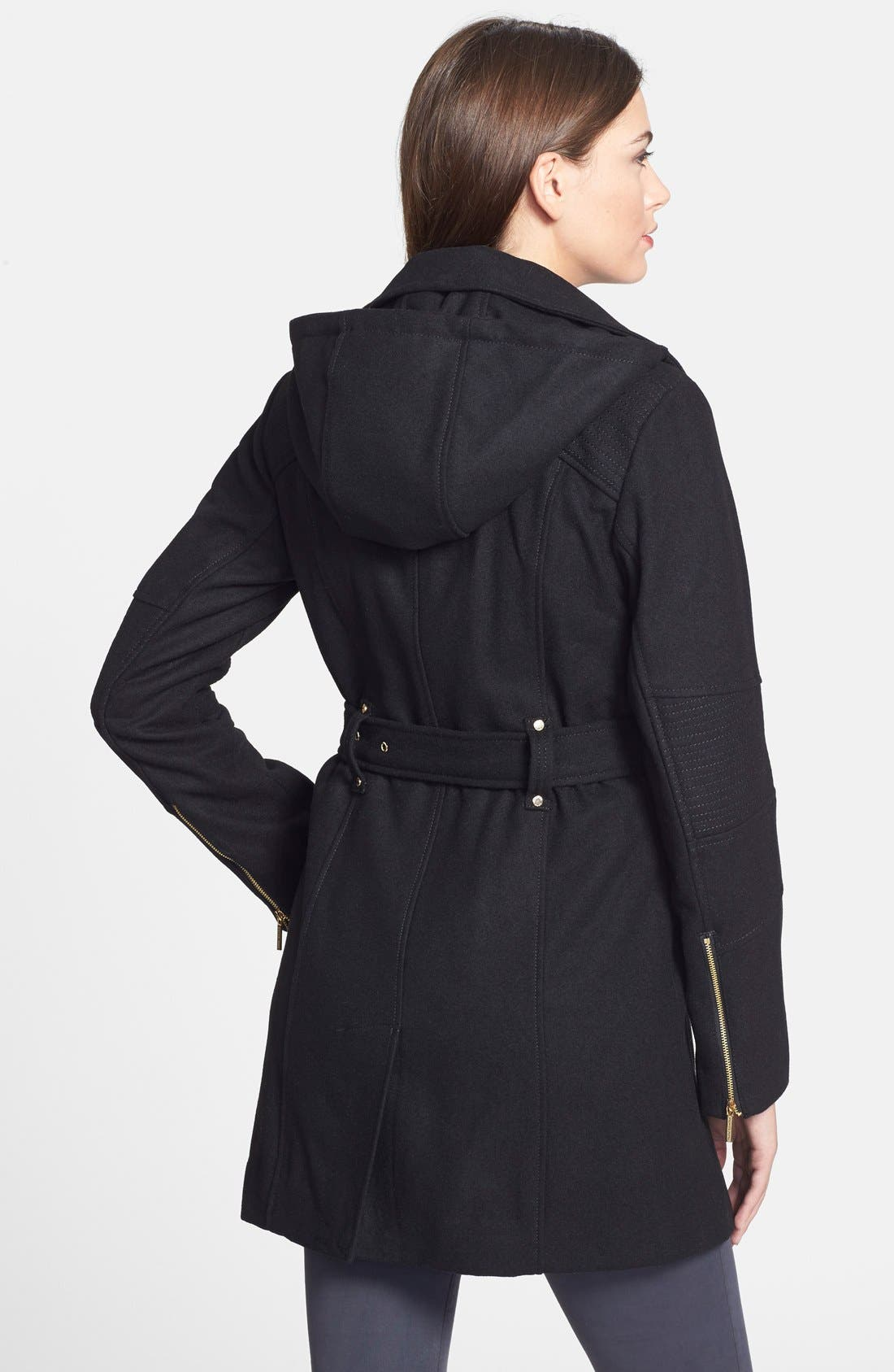 Alternate Image 2  - MICHAEL Michael Kors Belted Hooded Wool Blend Asymmetrical Coat (Online Only)