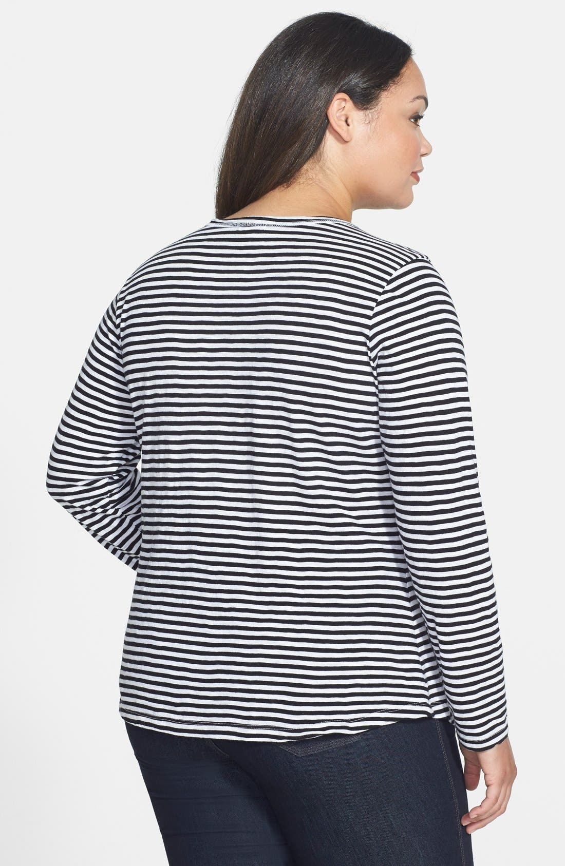 Alternate Image 2  - Lucky Brand 'Carina' Stripe Cotton Tee (Plus Size)