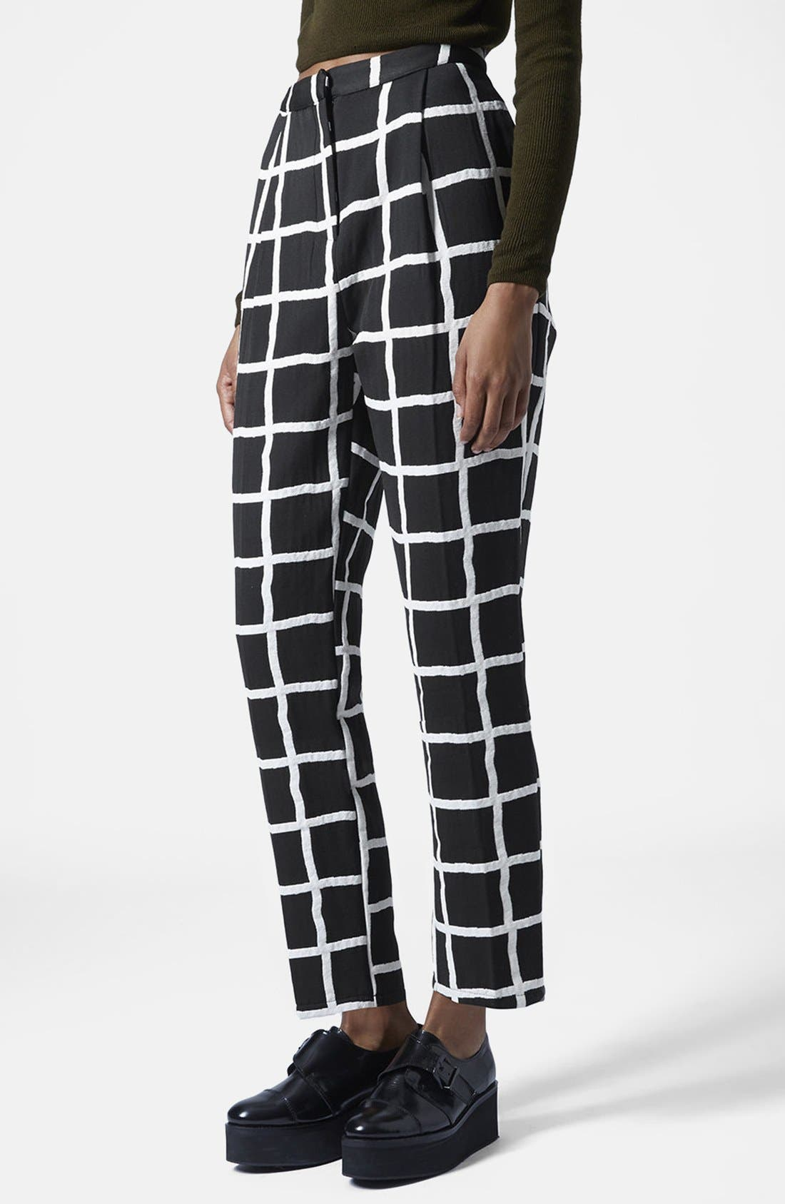 Alternate Image 1 Selected - Topshop Windowpane Peg Trousers