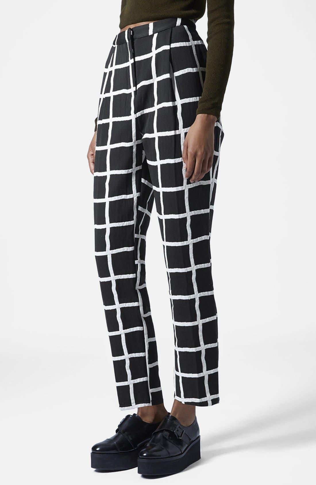 Main Image - Topshop Windowpane Peg Trousers