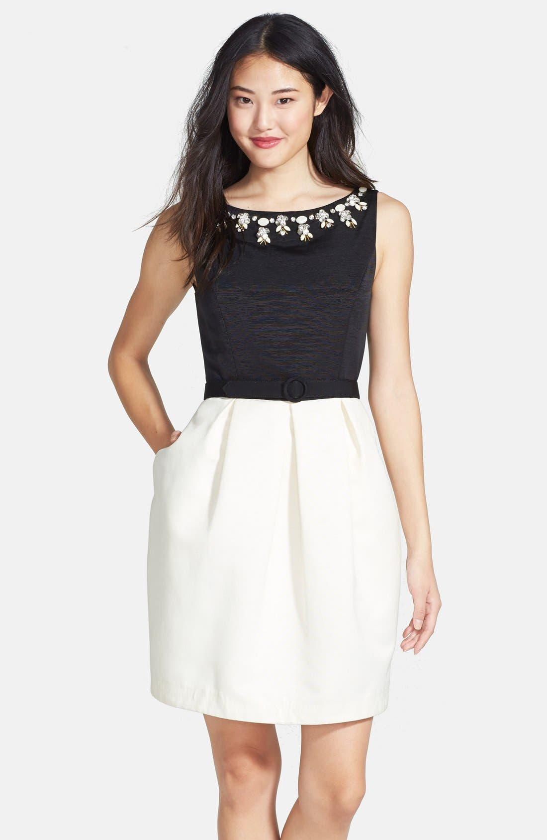 Alternate Image 1  - Eliza J Embellished Neck Colorblock Tulip Dress (Regular & Petite)