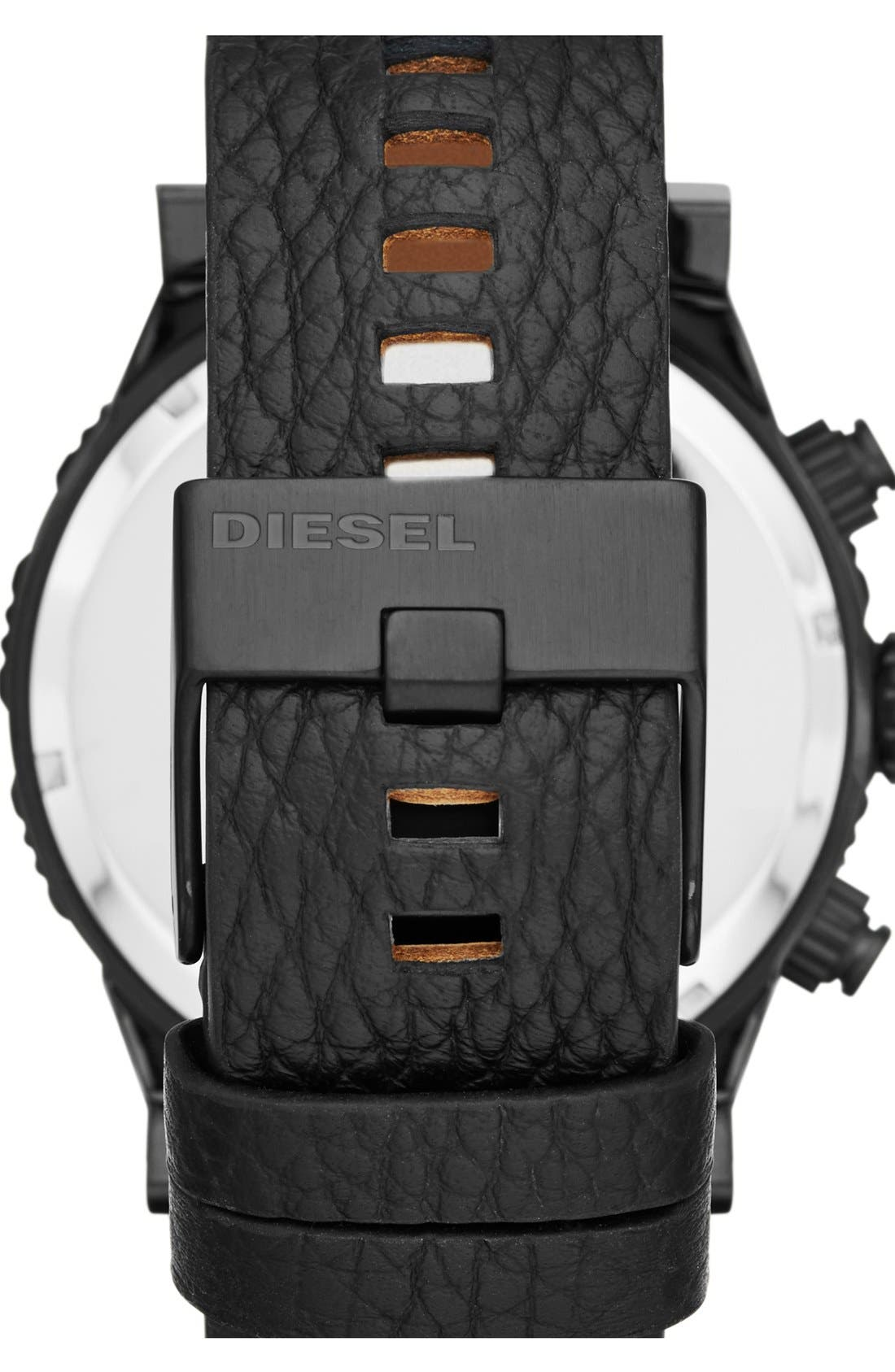 Alternate Image 2  - DIESEL® 'Double Down 2.0' Chronograph Leather Strap Watch, 48mm