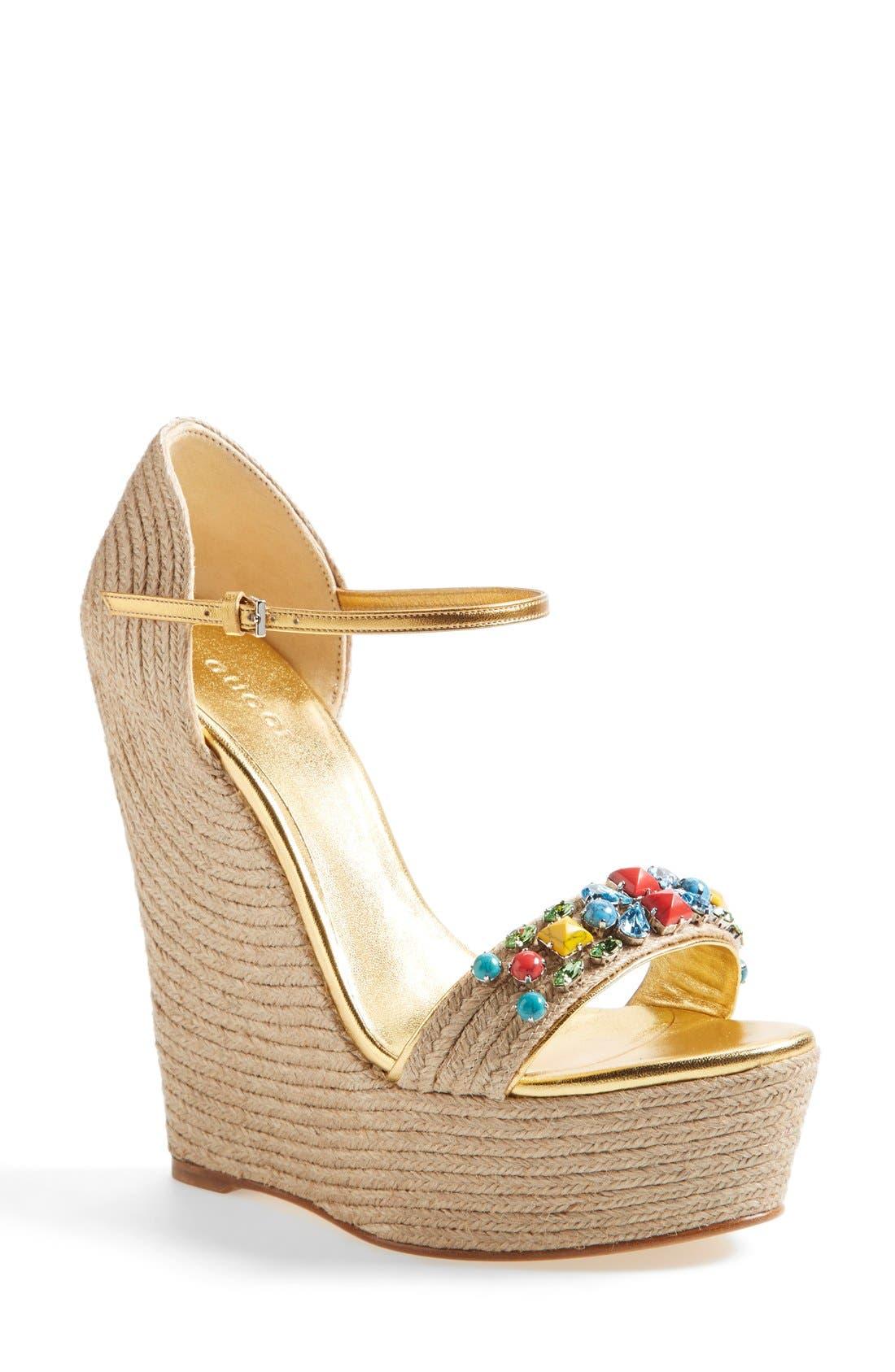 Main Image - Gucci 'Carolina' Jeweled Wedge Sandal (Women)