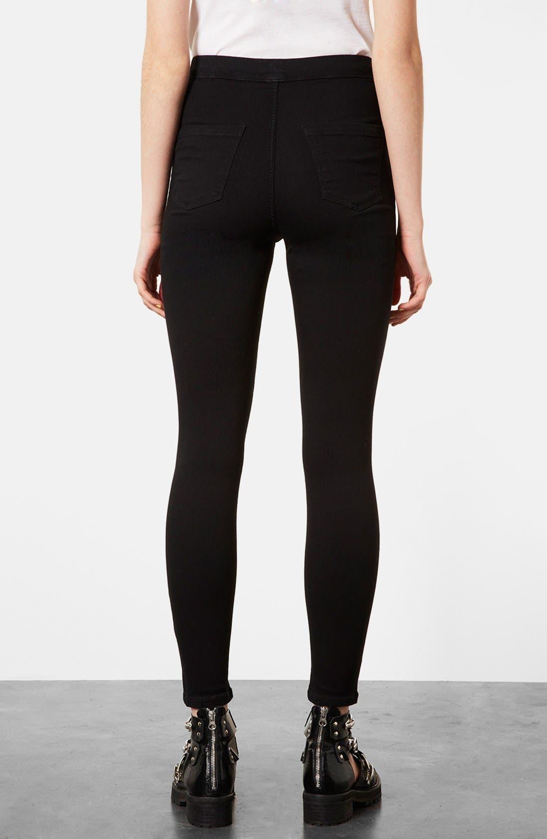 Alternate Image 2  - Topshop Moto 'Joni' High Rise Skinny Jeans (Black)