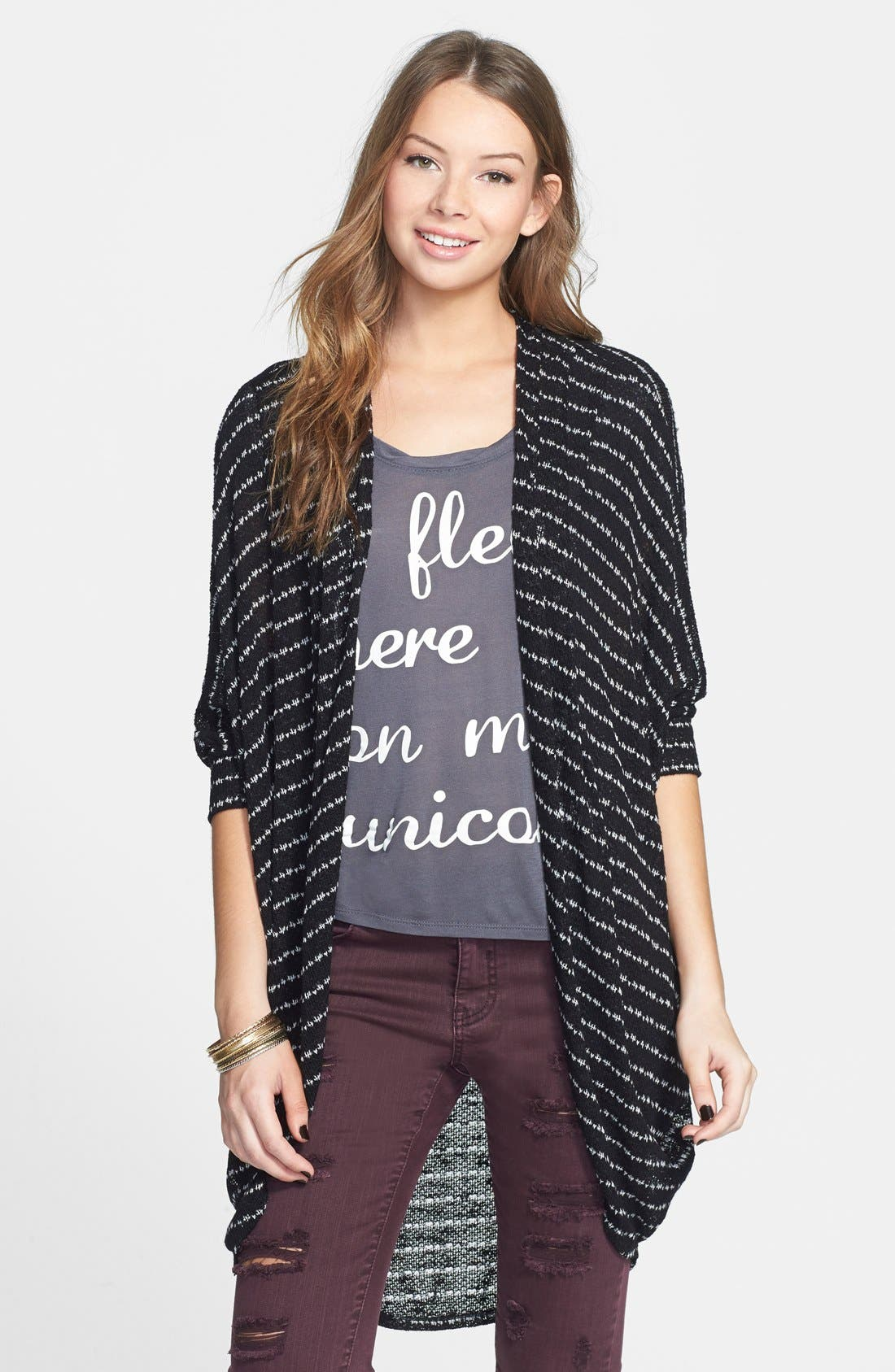 Alternate Image 1 Selected - Painted Threads Oversize Open Cardigan (Juniors)