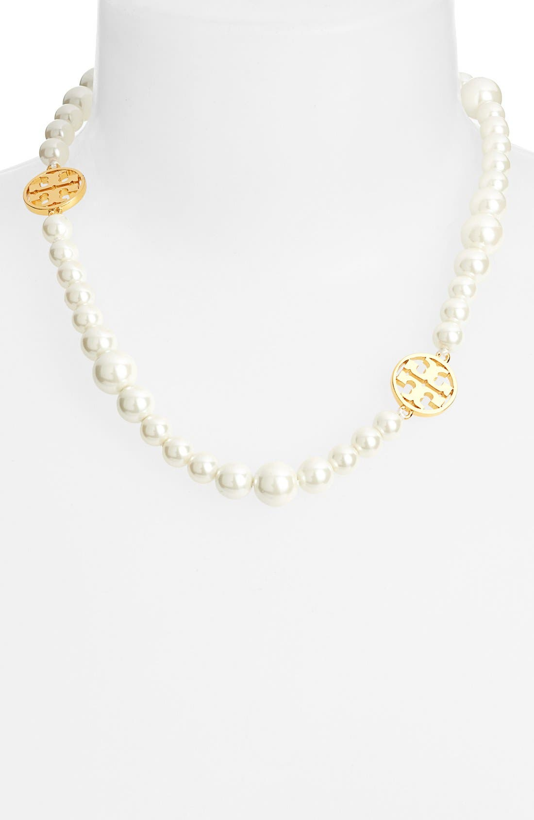 Alternate Image 2  - Tory Burch 'Evie' Logo & Glass Pearl Collar Necklace