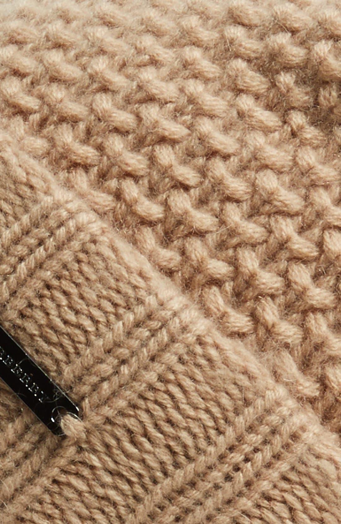 Alternate Image 2  - Burberry Knit Wool & Cashmere Beanie with Genuine Fox Fur Pompom