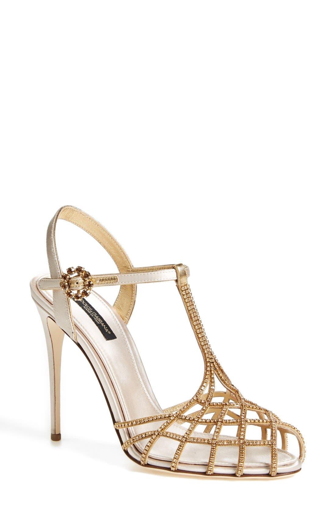 Alternate Image 1 Selected - Dolce&Gabbana Crystal T-Bar Sandal (Women)