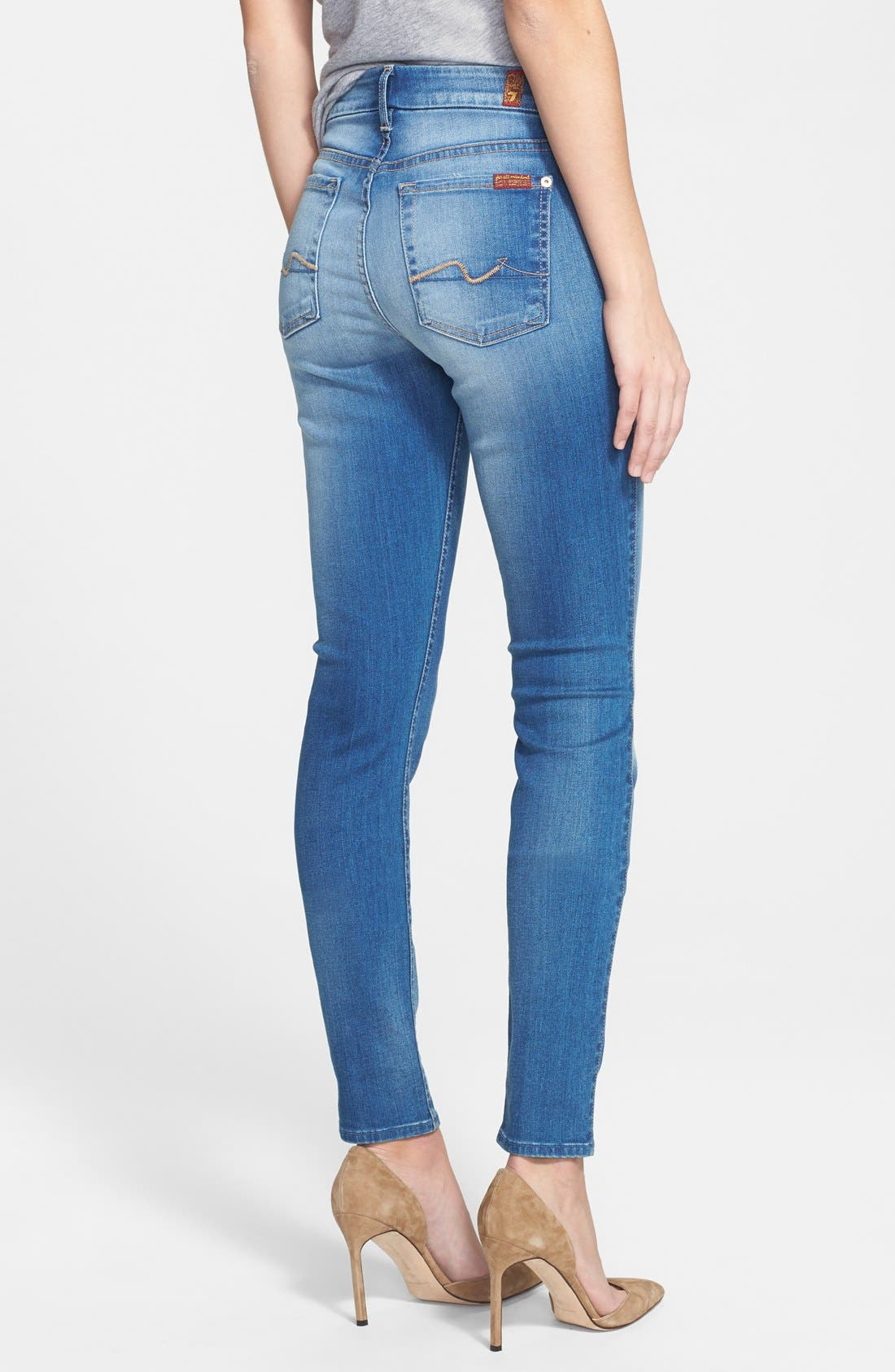 Alternate Image 2  - 7 For All Mankind® Mid Rise Skinny Jeans (Beautiful Skies)