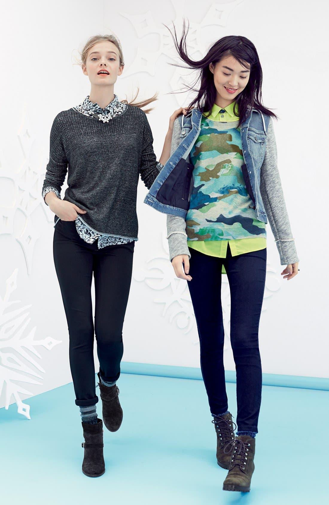 Alternate Image 4  - Two by Vince Camuto Contrast Trim Camo Print Sweater (Regular & Petite)