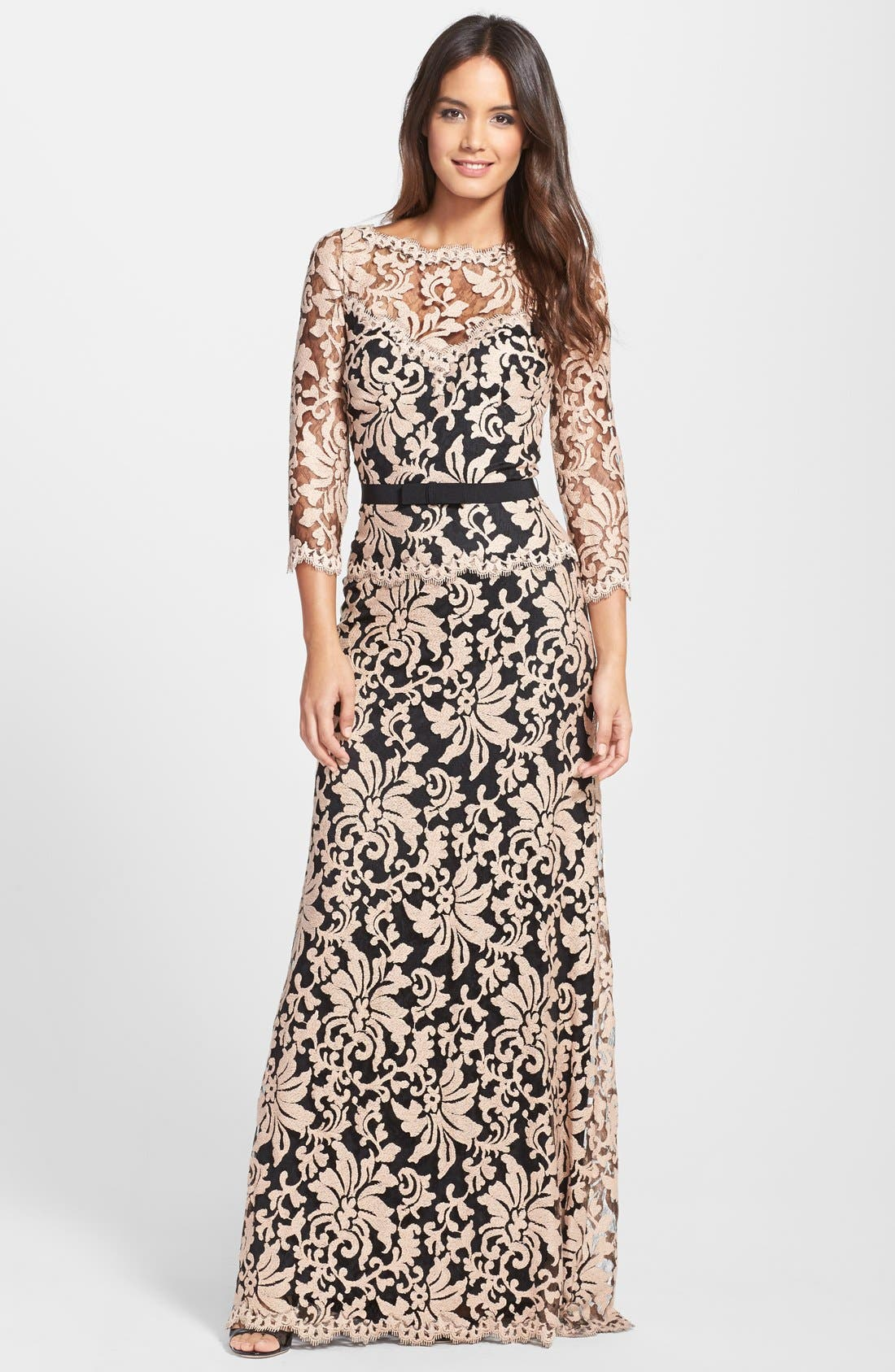 Alternate Image 1 Selected - Tadashi Shoji Belted Embroidered Lace Gown (Regular & Petite)