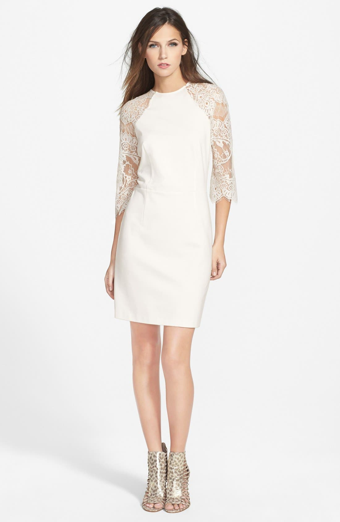 Alternate Image 3  - BB Dakota Lace & Ponte Sheath Dress