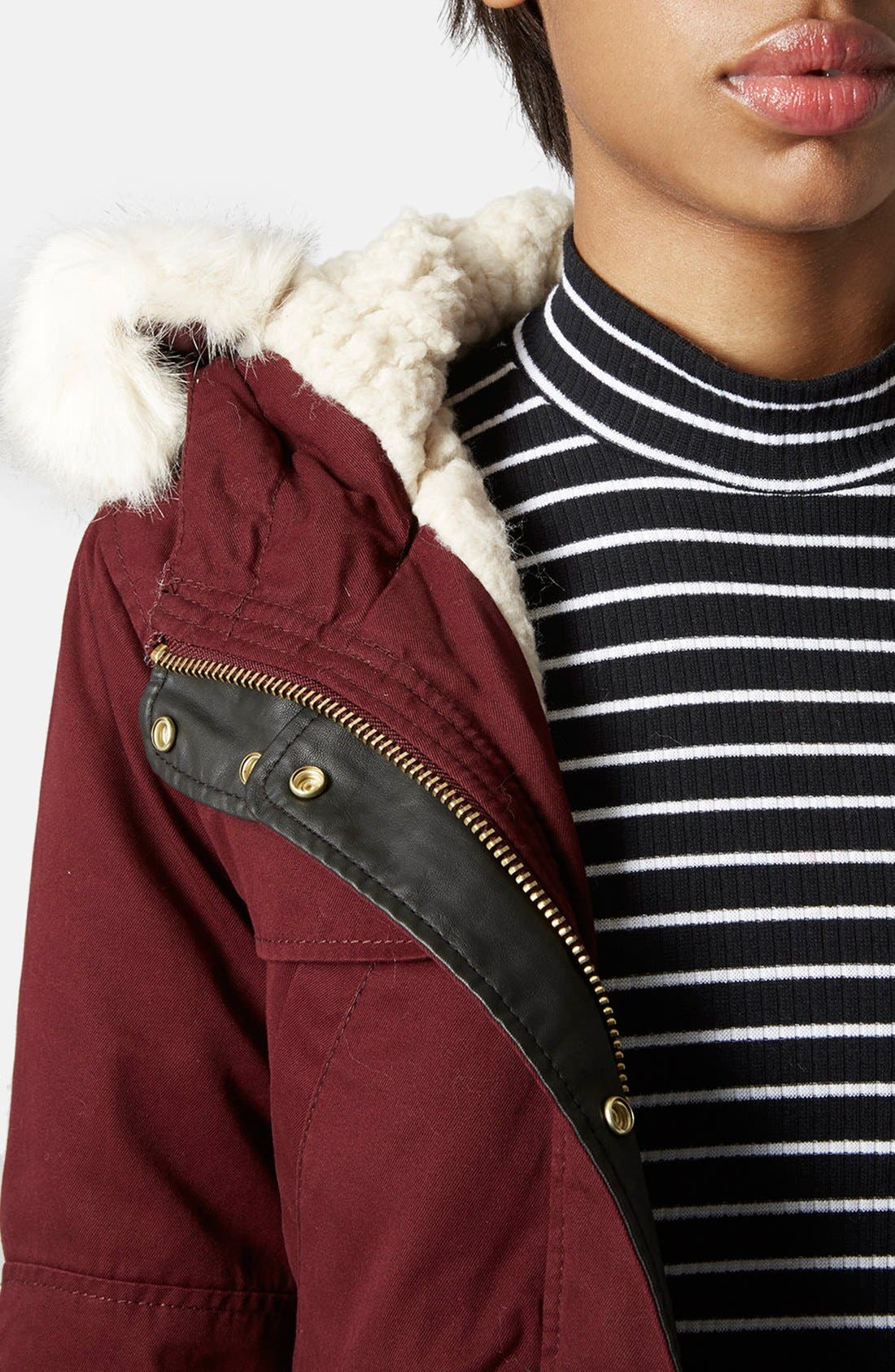 Alternate Image 4  - Topshop 'Walter' Hooded Cotton Parka with Faux Fur Trim