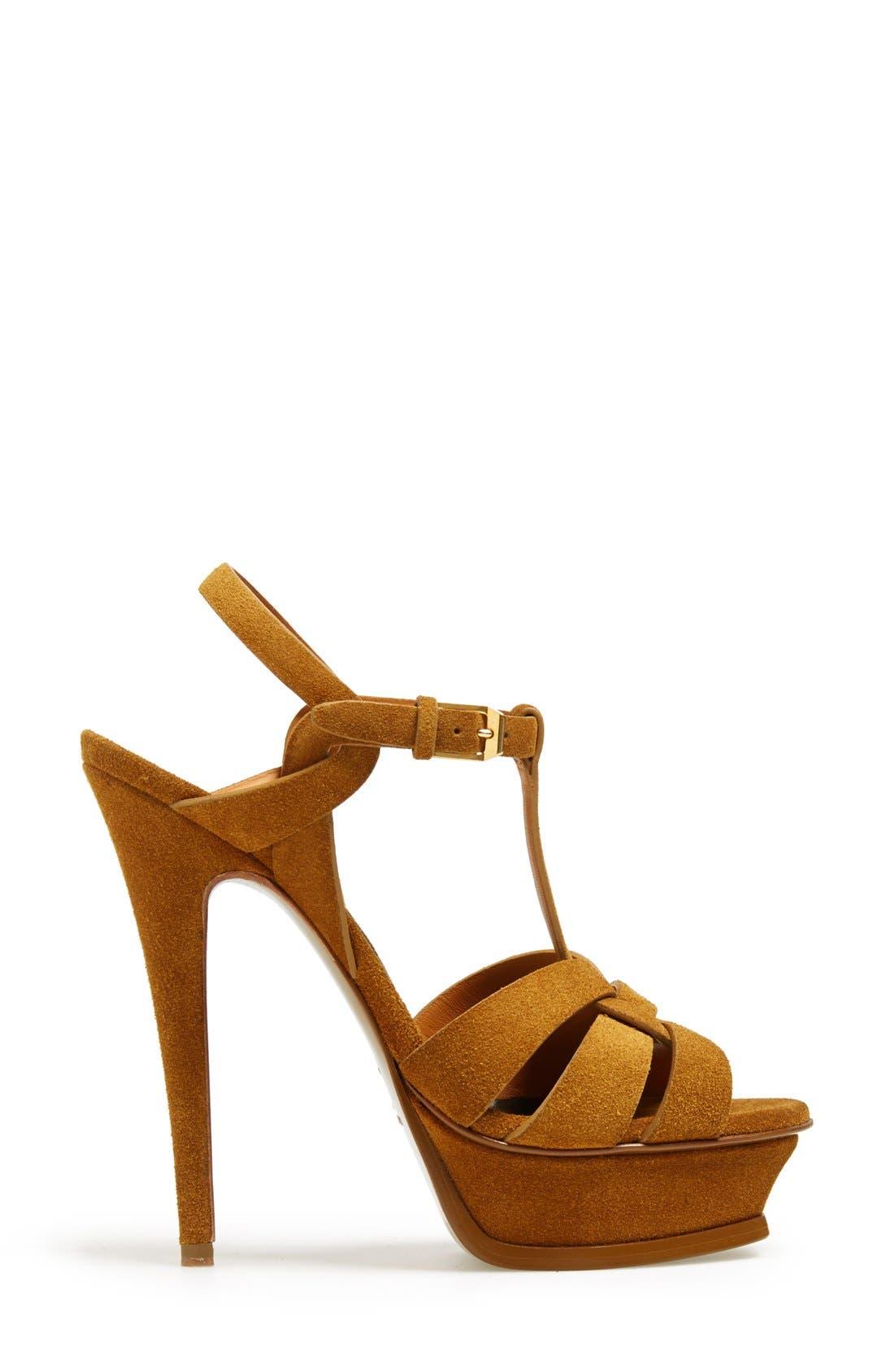 Alternate Image 4  - Saint Laurent 'Tribute' Suede T-Strap Sandal (Women)