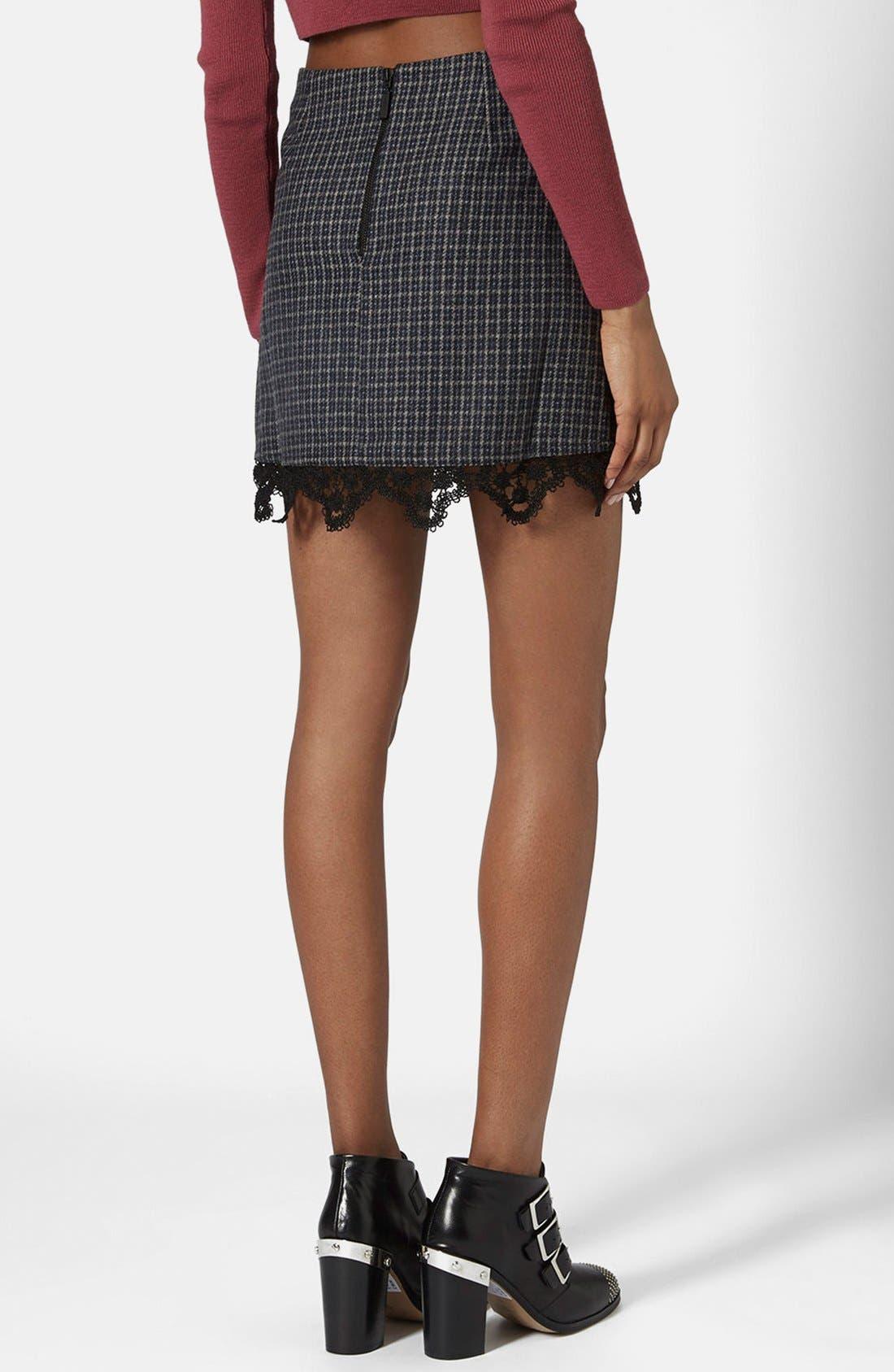 Alternate Image 2  - Topshop Tweed Lace Miniskirt