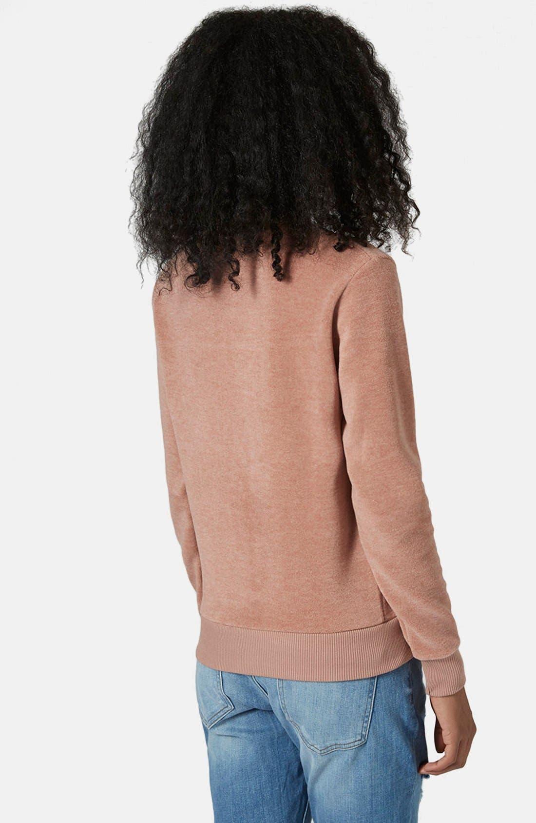 Alternate Image 2  - Topshop Fleece Crewneck Sweater