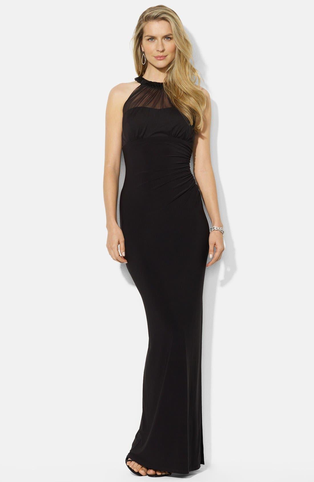 Main Image - Lauren Ralph Lauren Embellished Mesh & Jersey Gown (Petite)