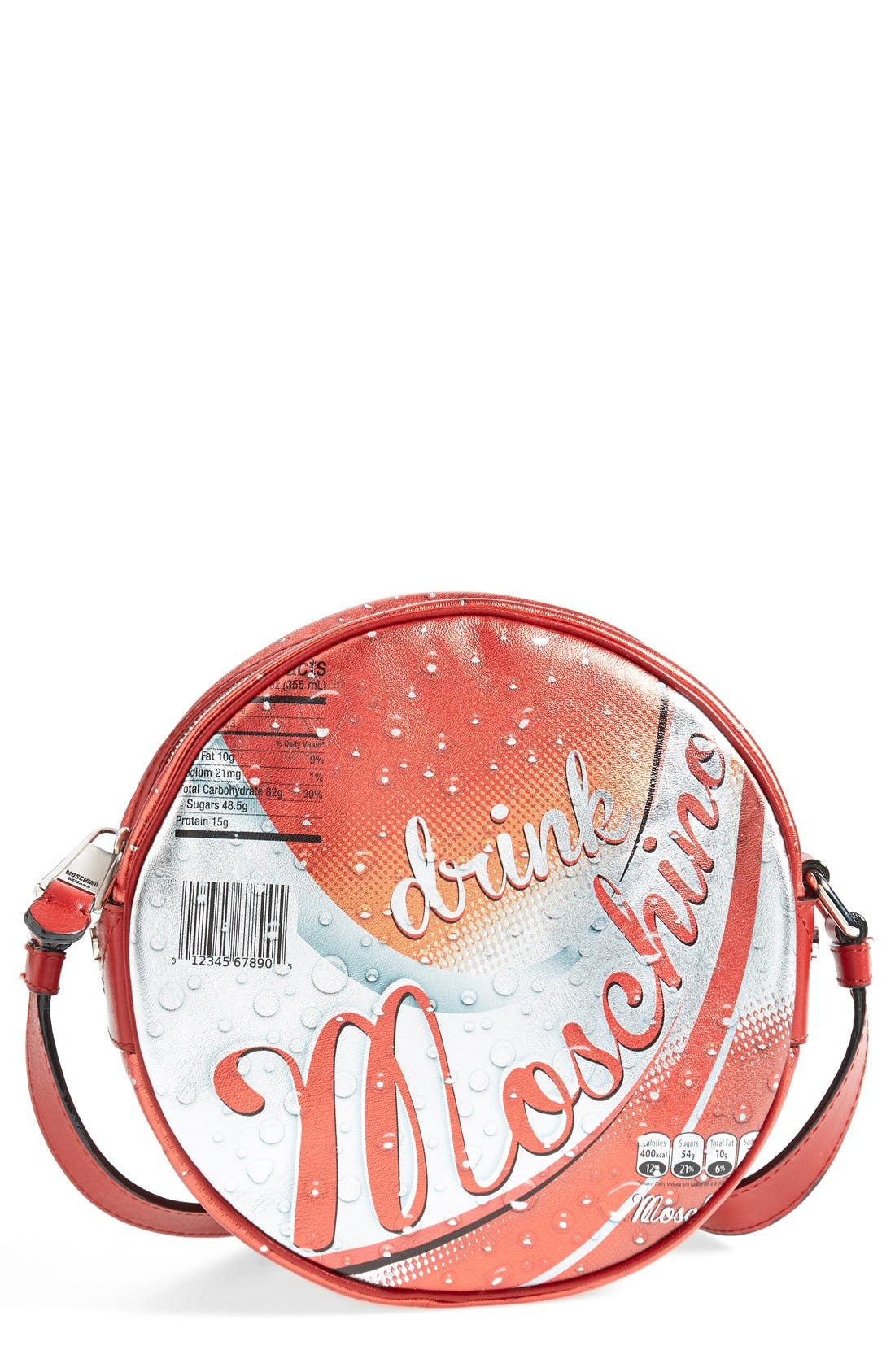 Alternate Image 1 Selected - Moschino 'Drink Moschino' Laminated Leather Crossbody Bag