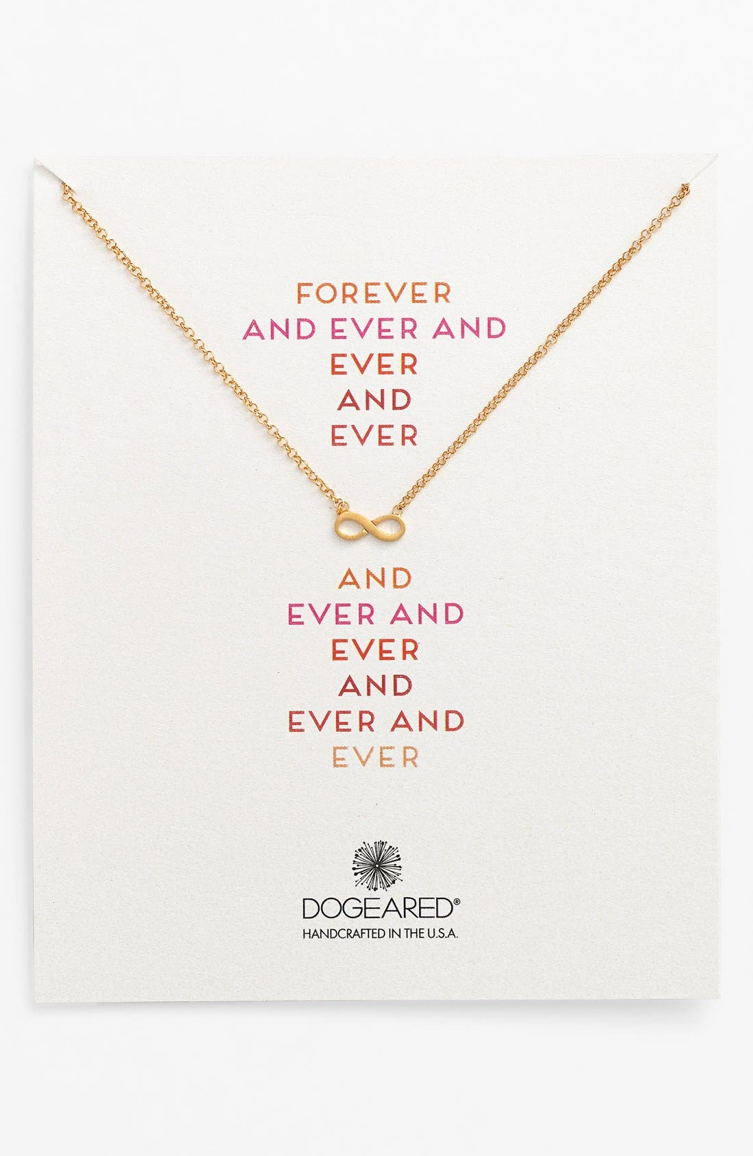 Main Image - Dogeared 'Reminder - Forever and Ever' Boxed Infinity Pendant Necklace