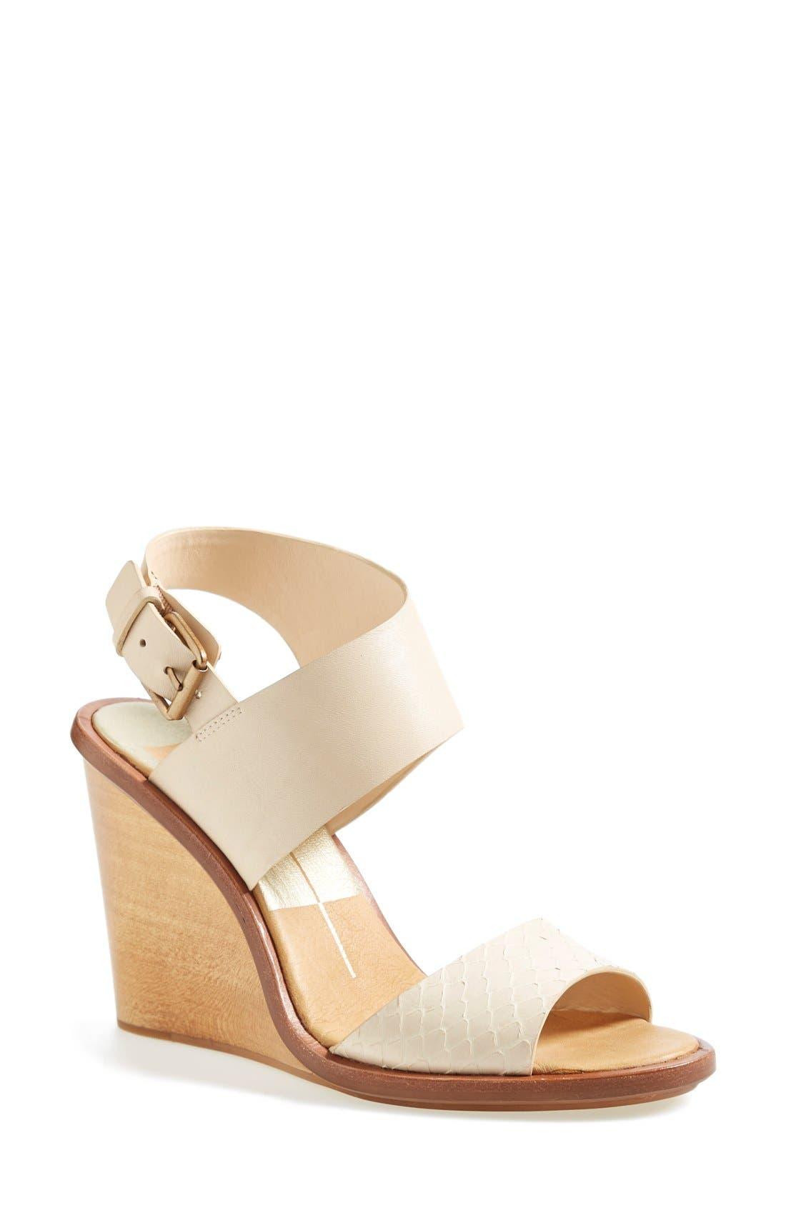 Alternate Image 1 Selected - Dolce Vita 'Jodi' Snake Embossed Leather Wedge Sandal (Women)