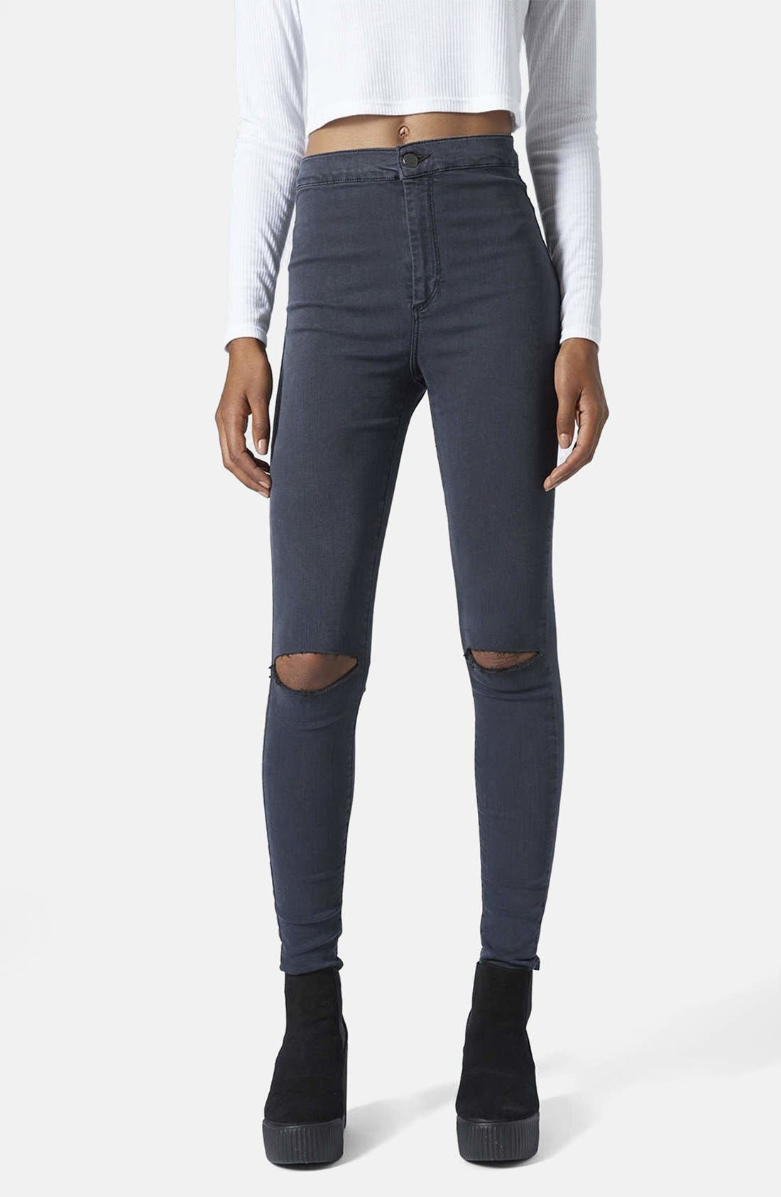 Main Image - Topshop Moto 'Joni' Ripped Jeans (Blue) (Regular & Short)
