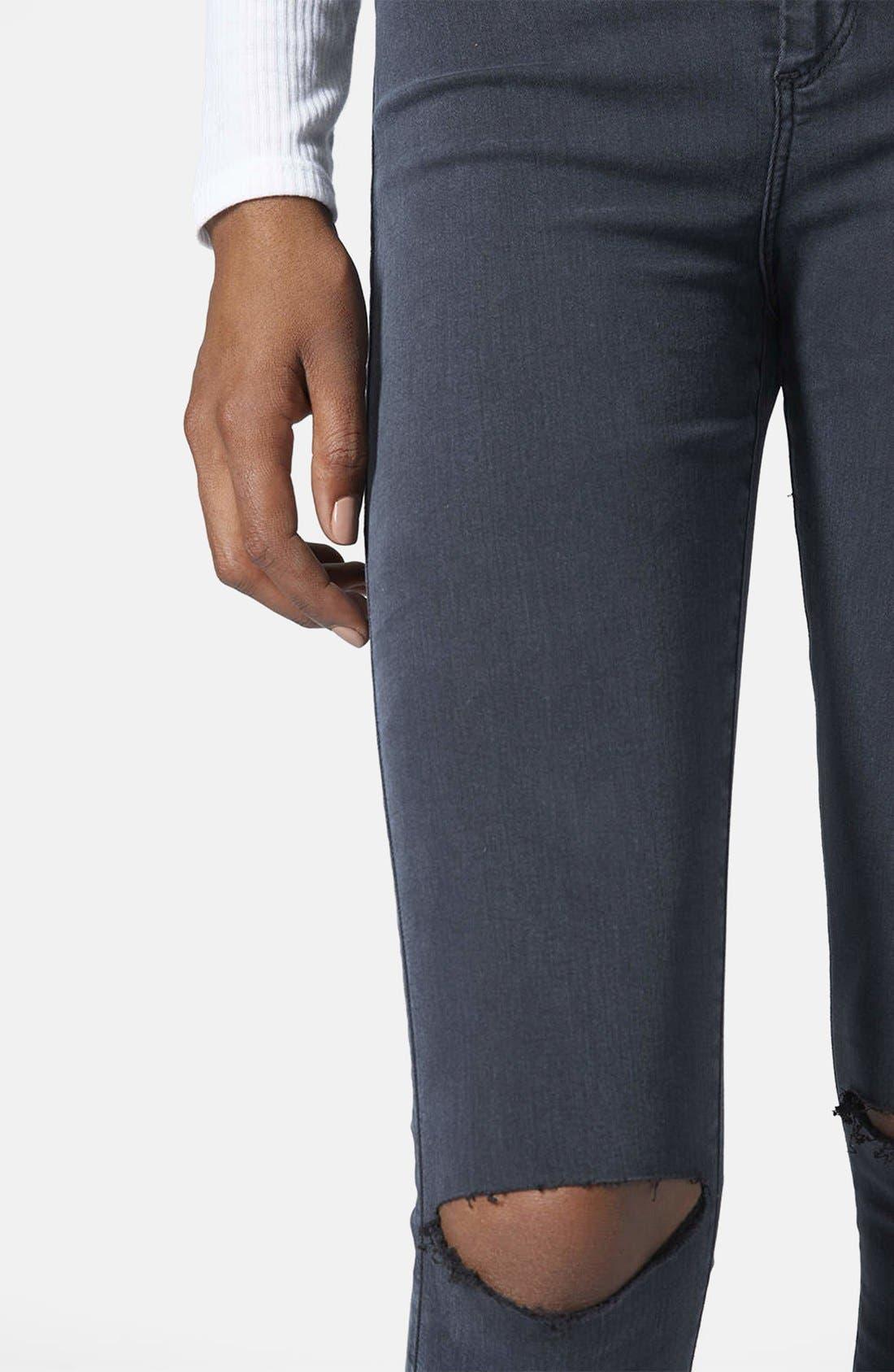 Alternate Image 4  - Topshop Moto 'Joni' Ripped Jeans (Blue) (Regular & Short)