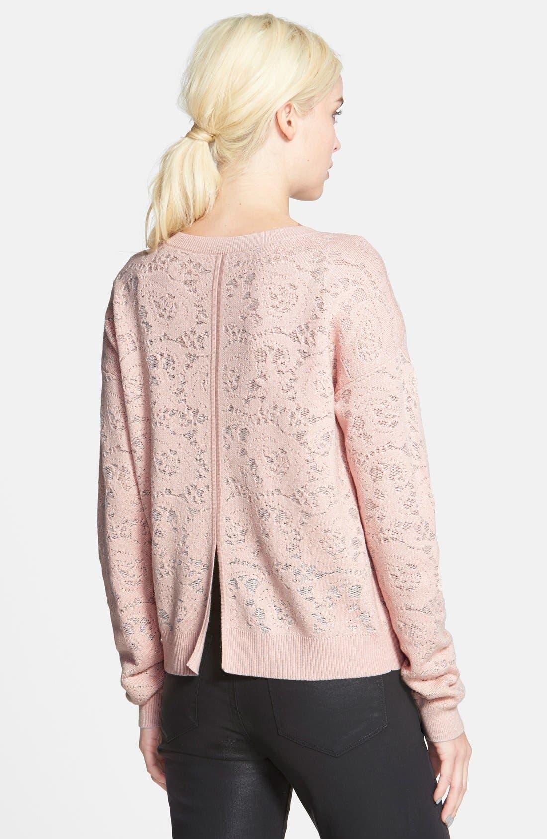 Alternate Image 3  - Chelsea28 Floral Jacquard Sweater