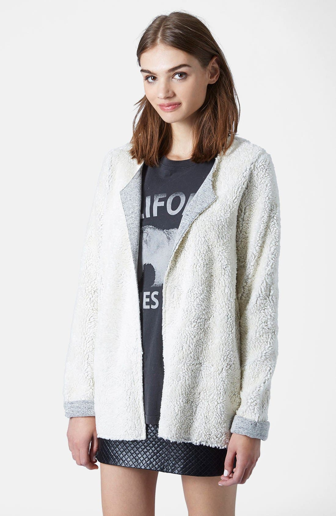 Main Image - Topshop Faux Shearling Open Front Cardigan