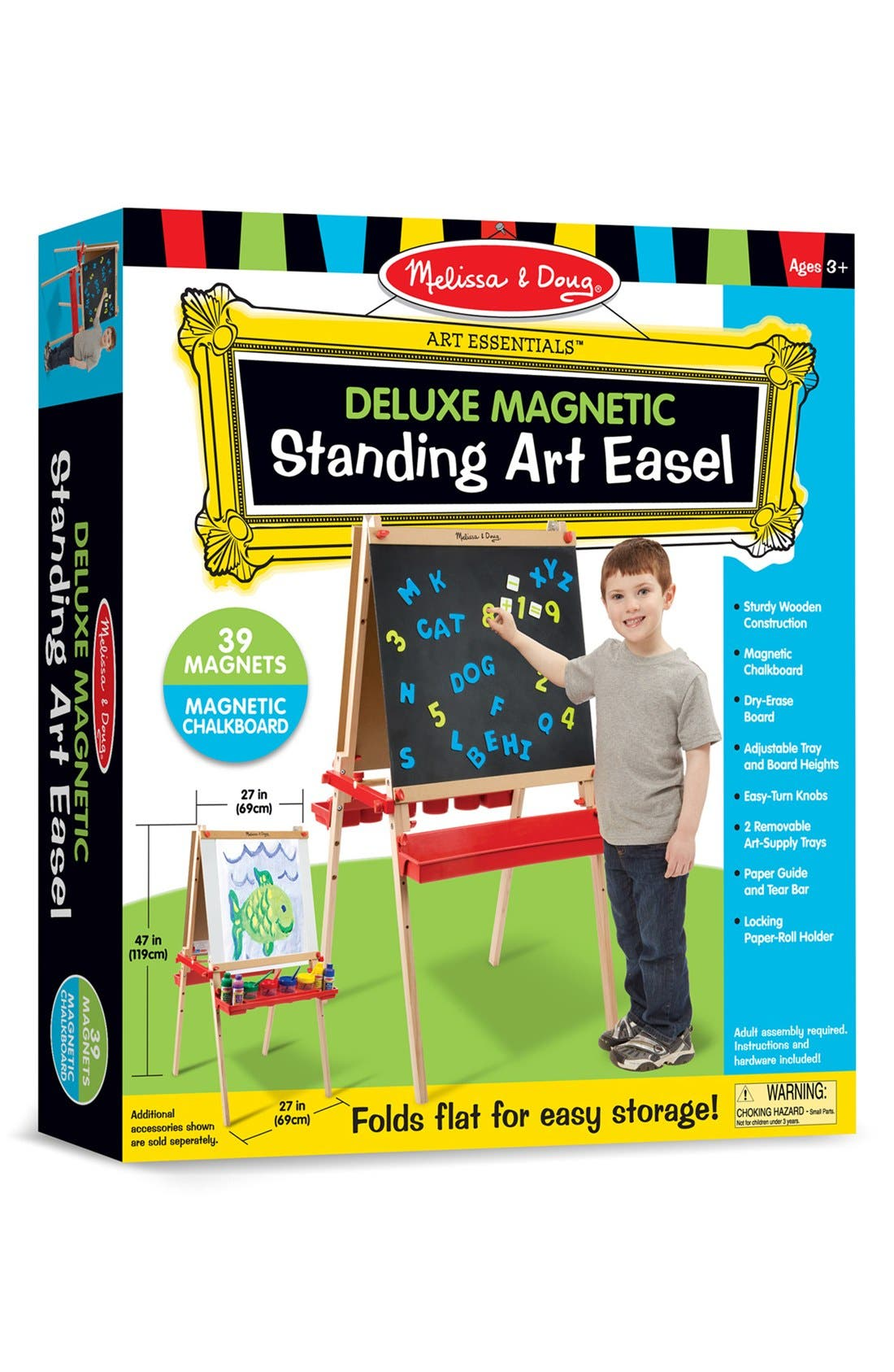 Melissa & Doug Wooden Easel with Chalkboard and Magnet Board