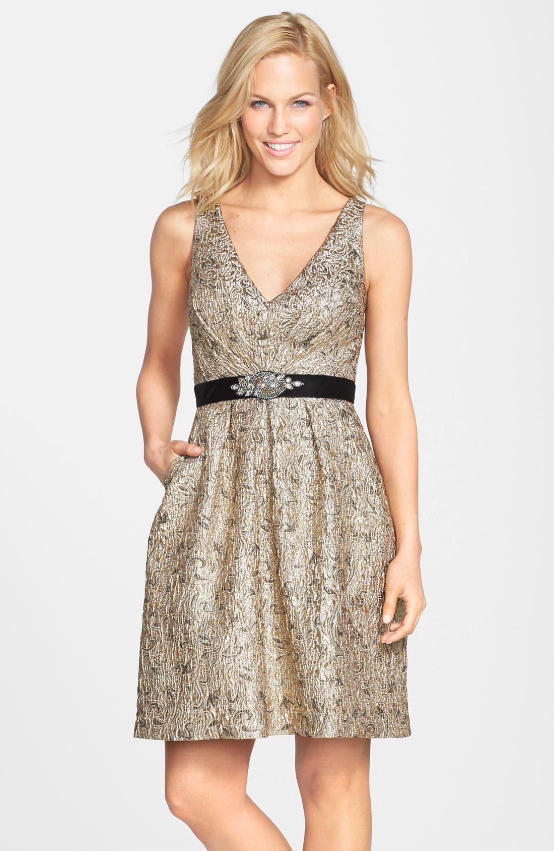 Main Image - Aidan Mattox Embellished Waist Jacquard Fit & Flare Dress