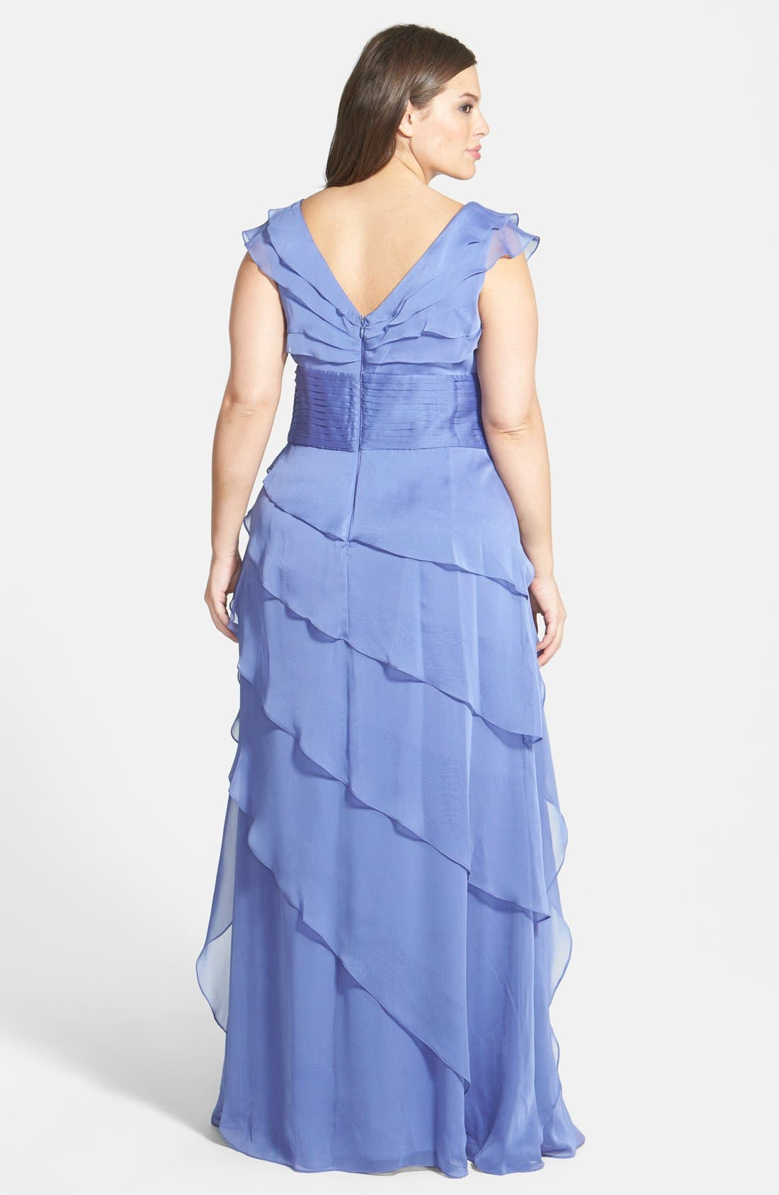 Alternate Image 2  - Adrianna Papell Iridescent Chiffon Petal Gown (Plus Size)