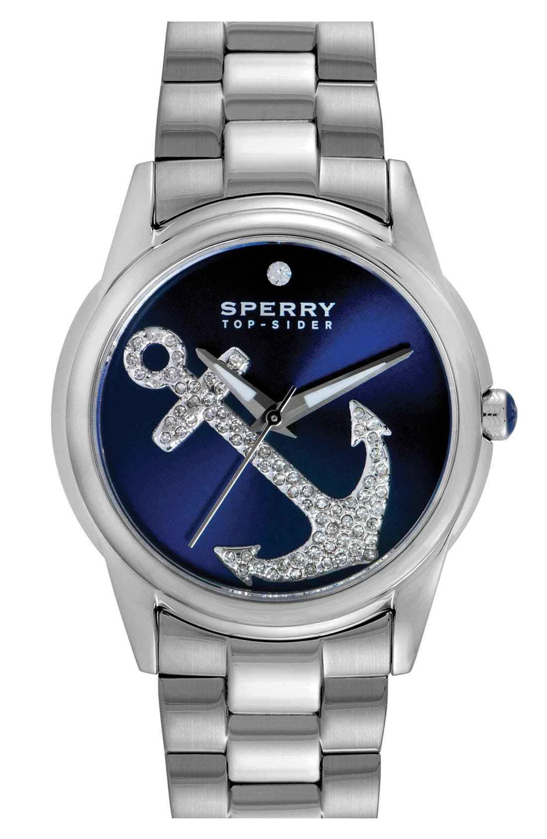 Alternate Image 1 Selected - Sperry 'Audrey' Pavé Anchor Bracelet Watch, 38mm