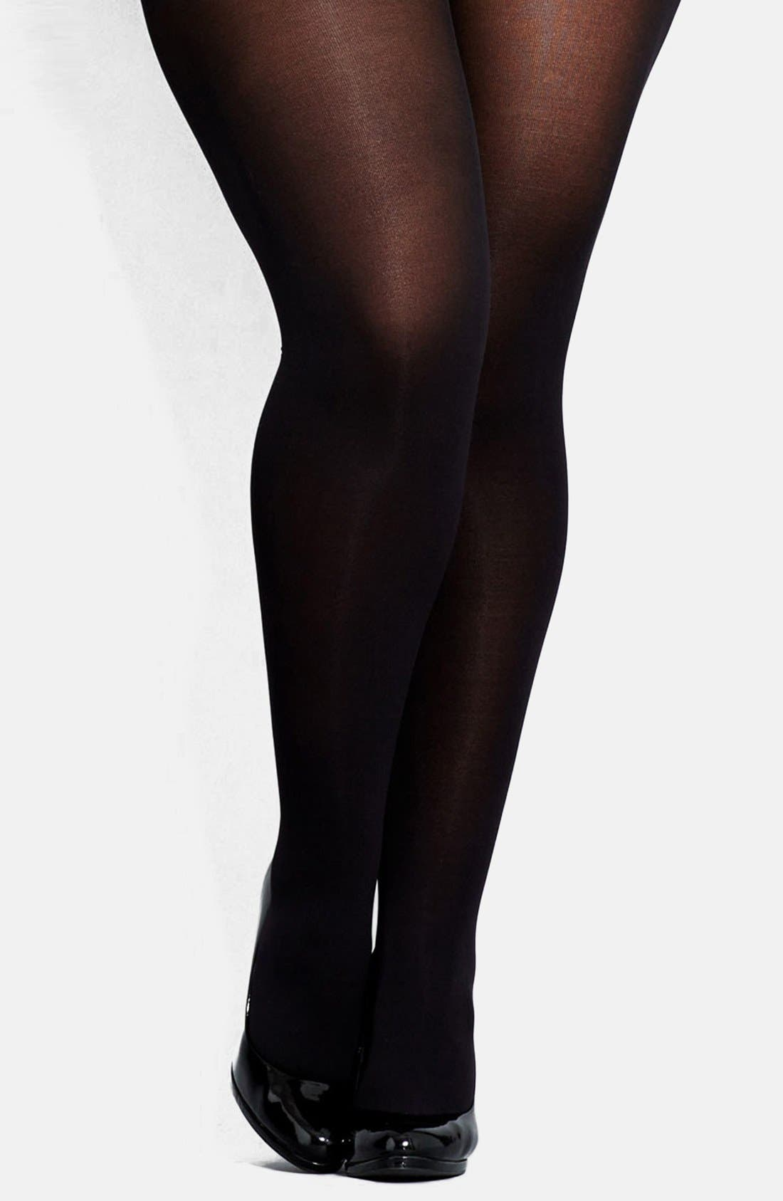 Alternate Image 1 Selected - City Chic 80 Denier Black Opaque Tights (Plus Size)