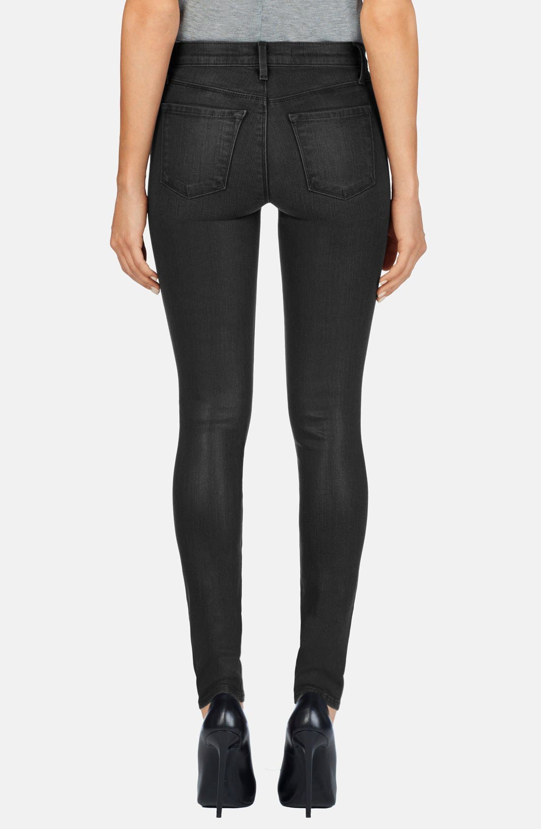 Alternate Image 2  - J Brand '620' Mid Rise Skinny Jeans (Black Diamond)