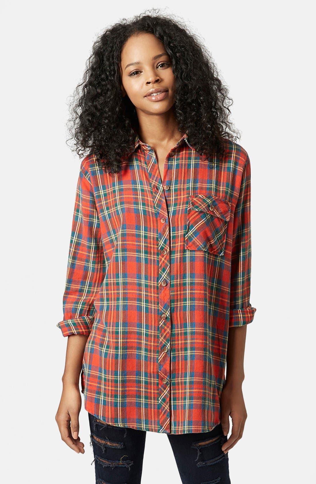 Alternate Image 1 Selected - Topshop 'Marvin' Oversize Check Shirt