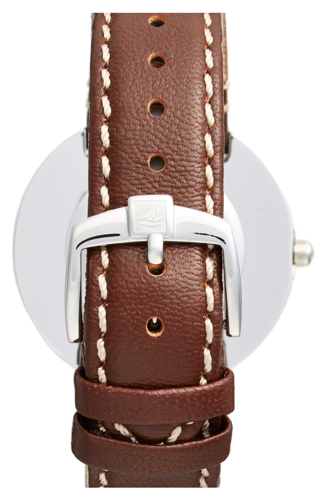 Alternate Image 2  - Sperry 'Sandbar' Anchor Dial Leather Strap Watch, 40mm